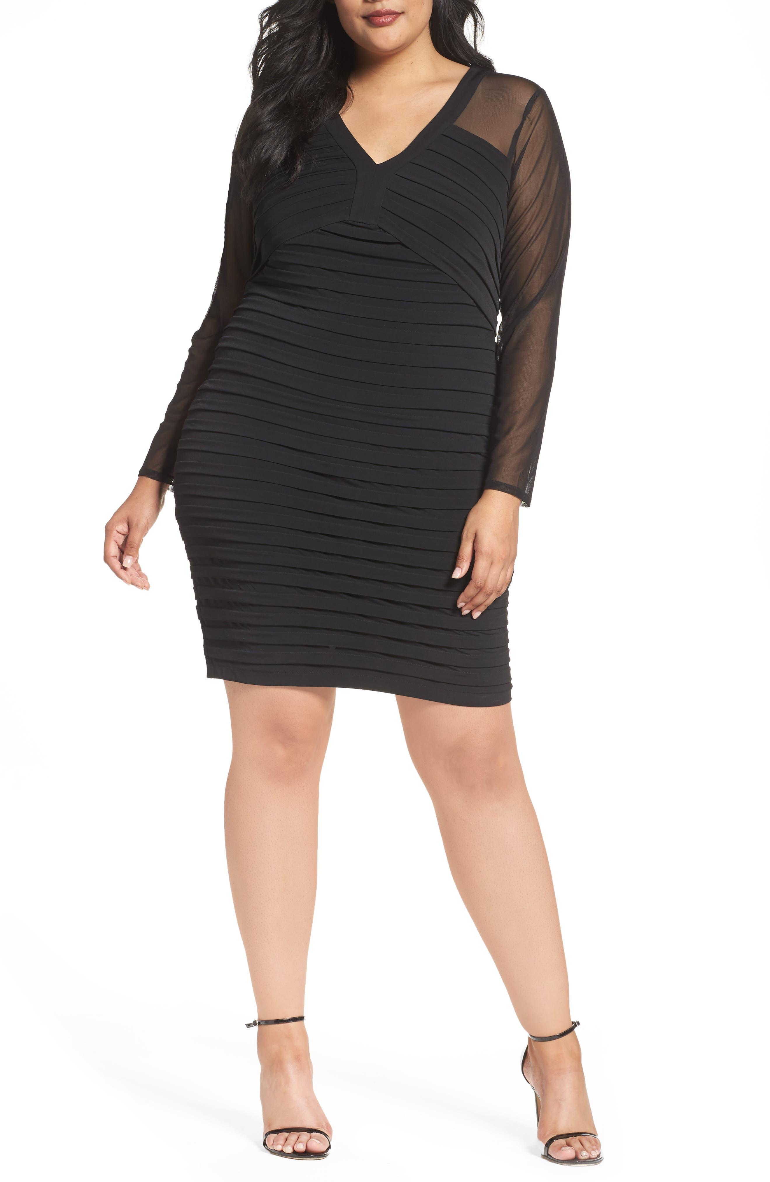 Main Image - London Times Shutter Pleat Jersey Skeath Dress (Plus Size)