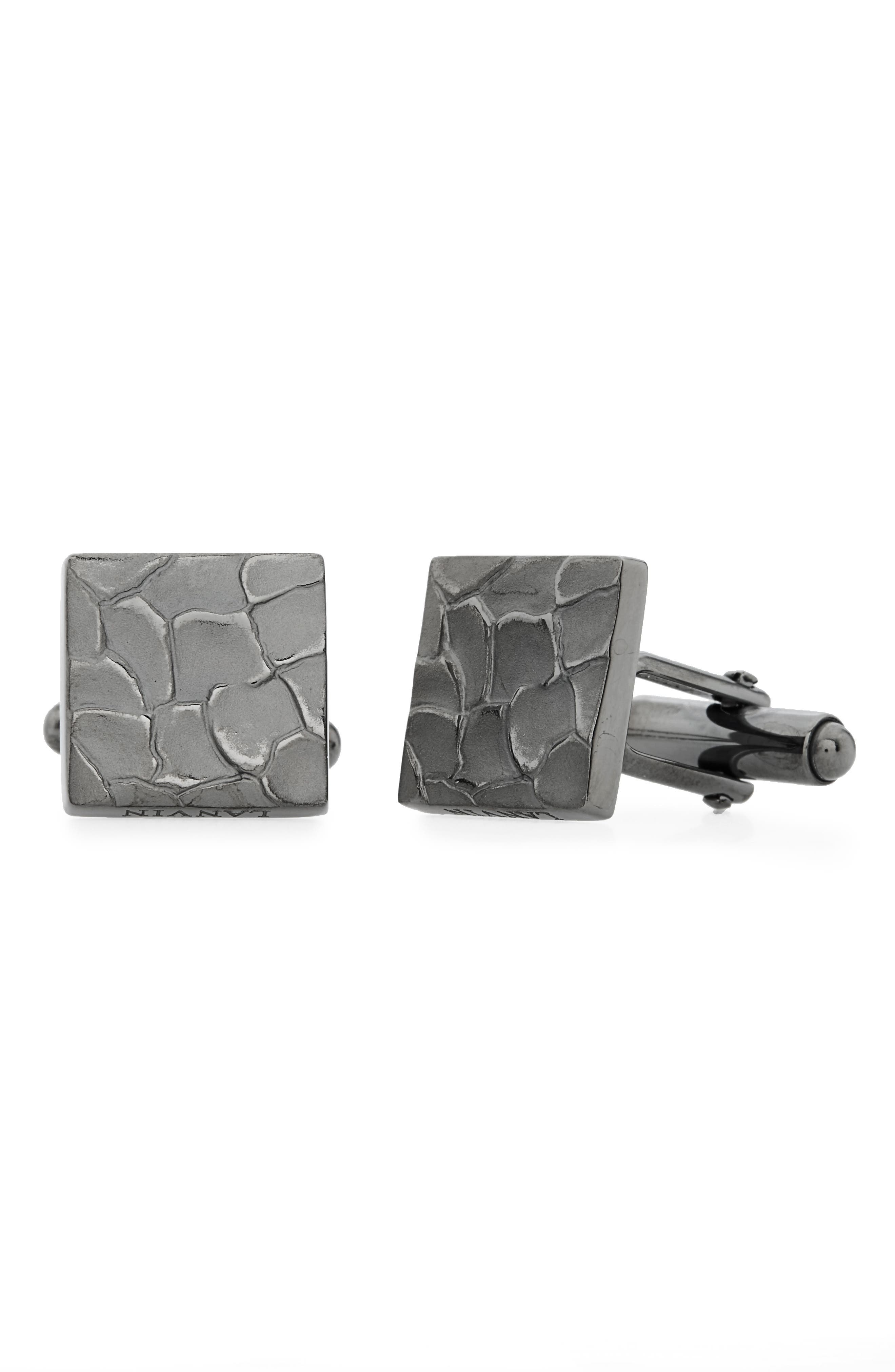 Textured Square Cuff Links,                         Main,                         color, Ruthenium Plated