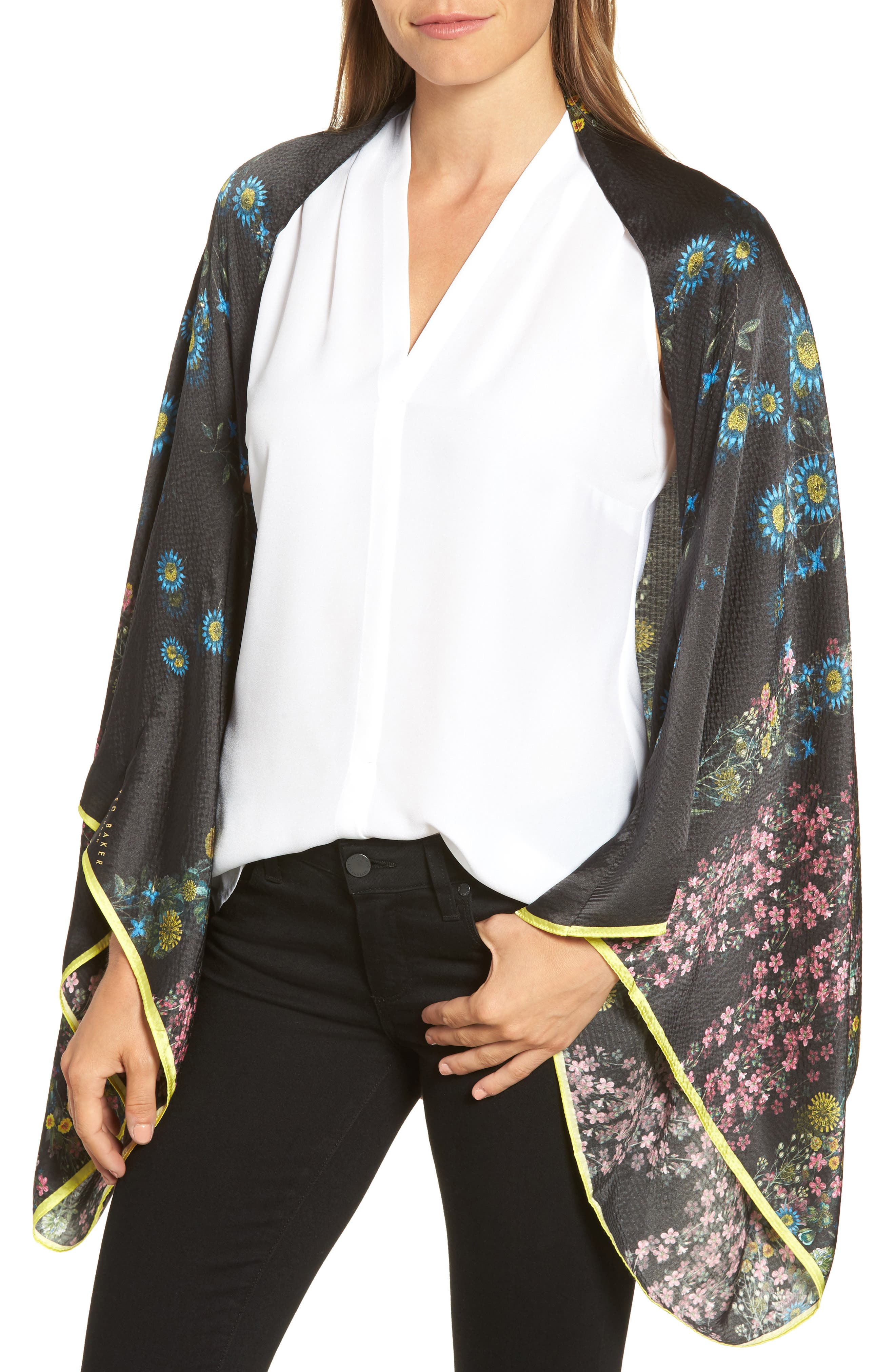 Alternate Image 1 Selected - Ted Baker London Unity Floral Silk Cape Scarf