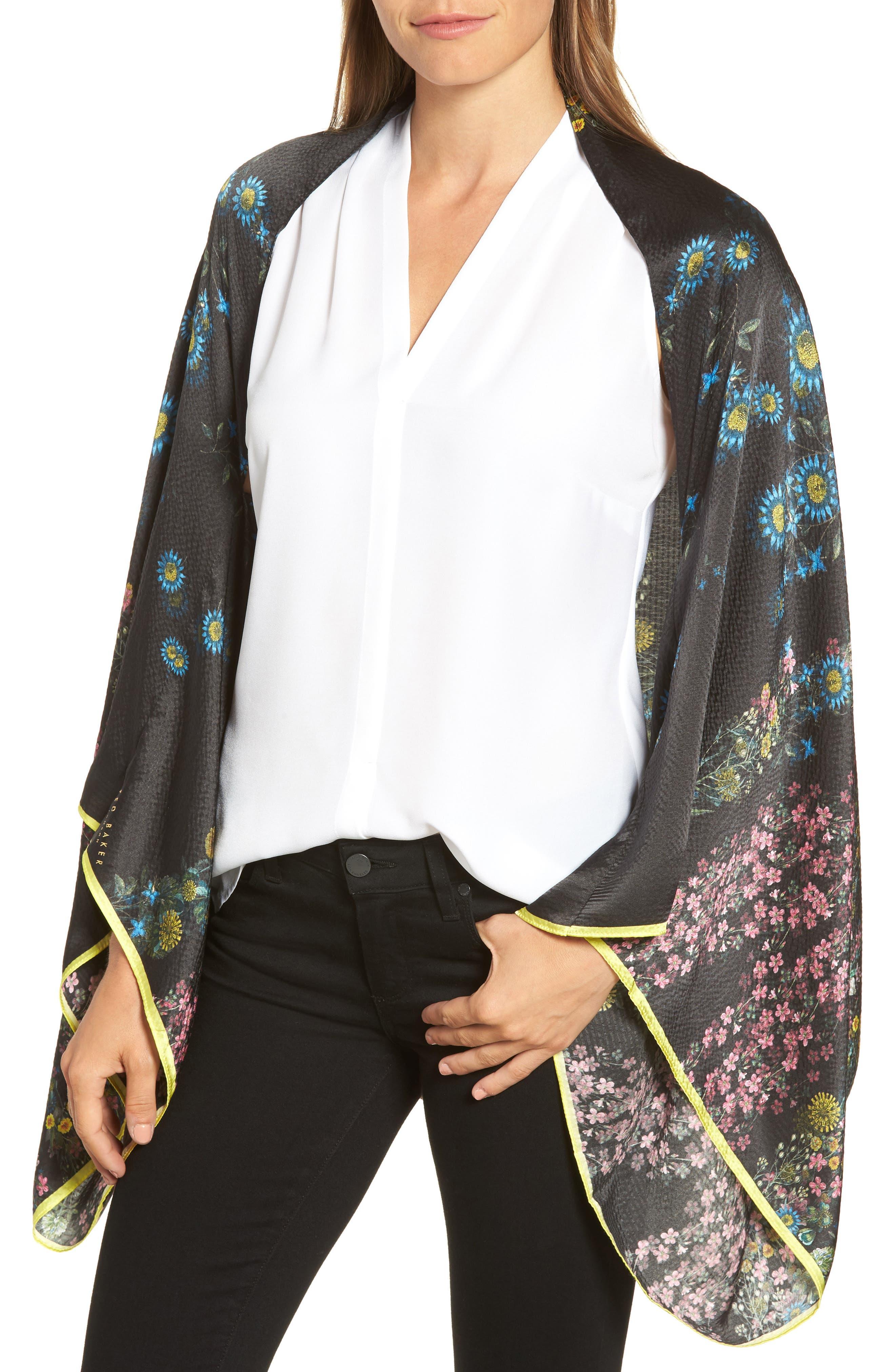 Unity Floral Silk Cape Scarf,                         Main,                         color, Black
