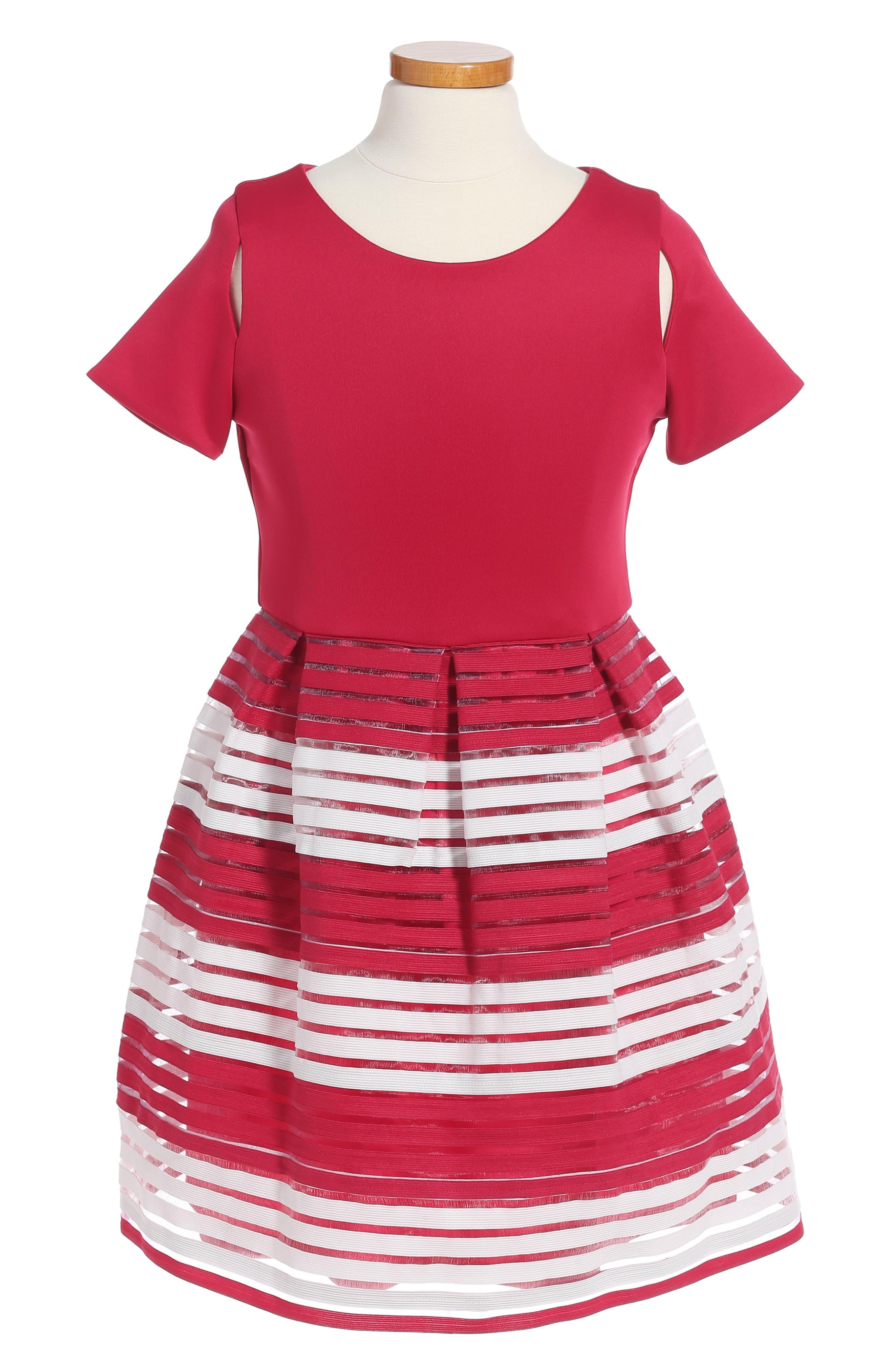 Alternate Image 1 Selected - BLUSH by US Angels Elastic Stripe Dress (Big Girls)