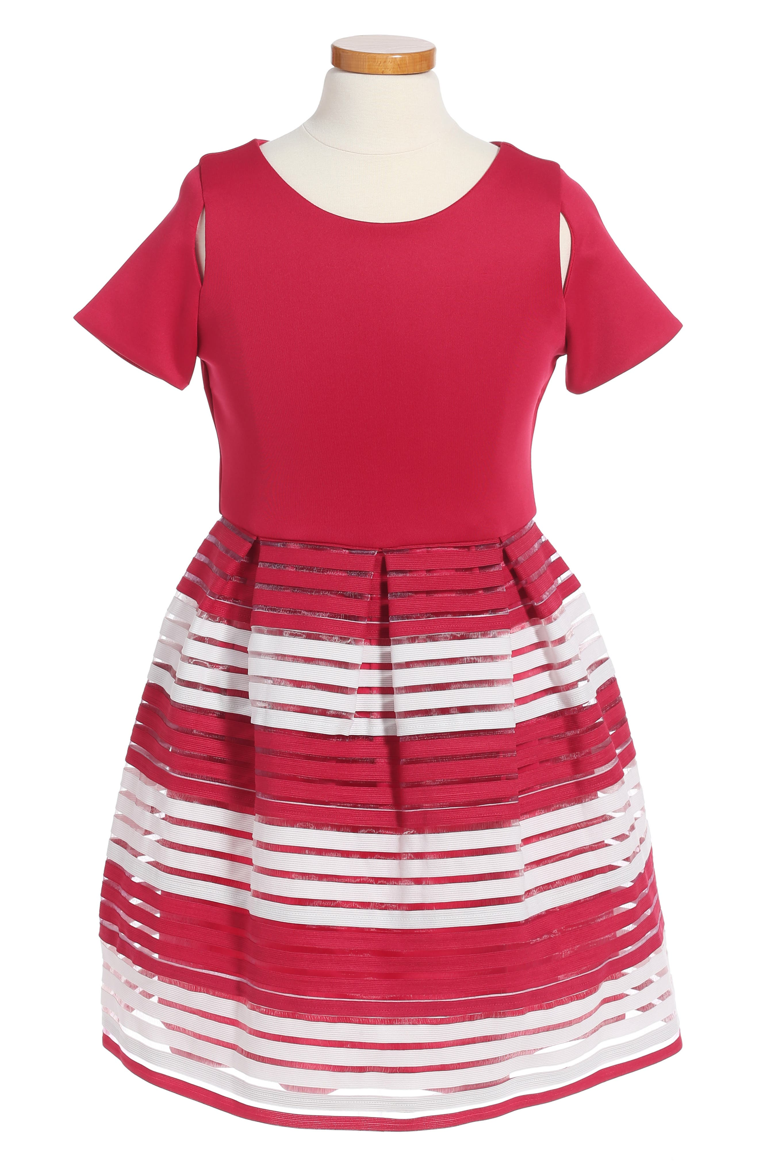 Main Image - BLUSH by US Angels Elastic Stripe Dress (Big Girls)