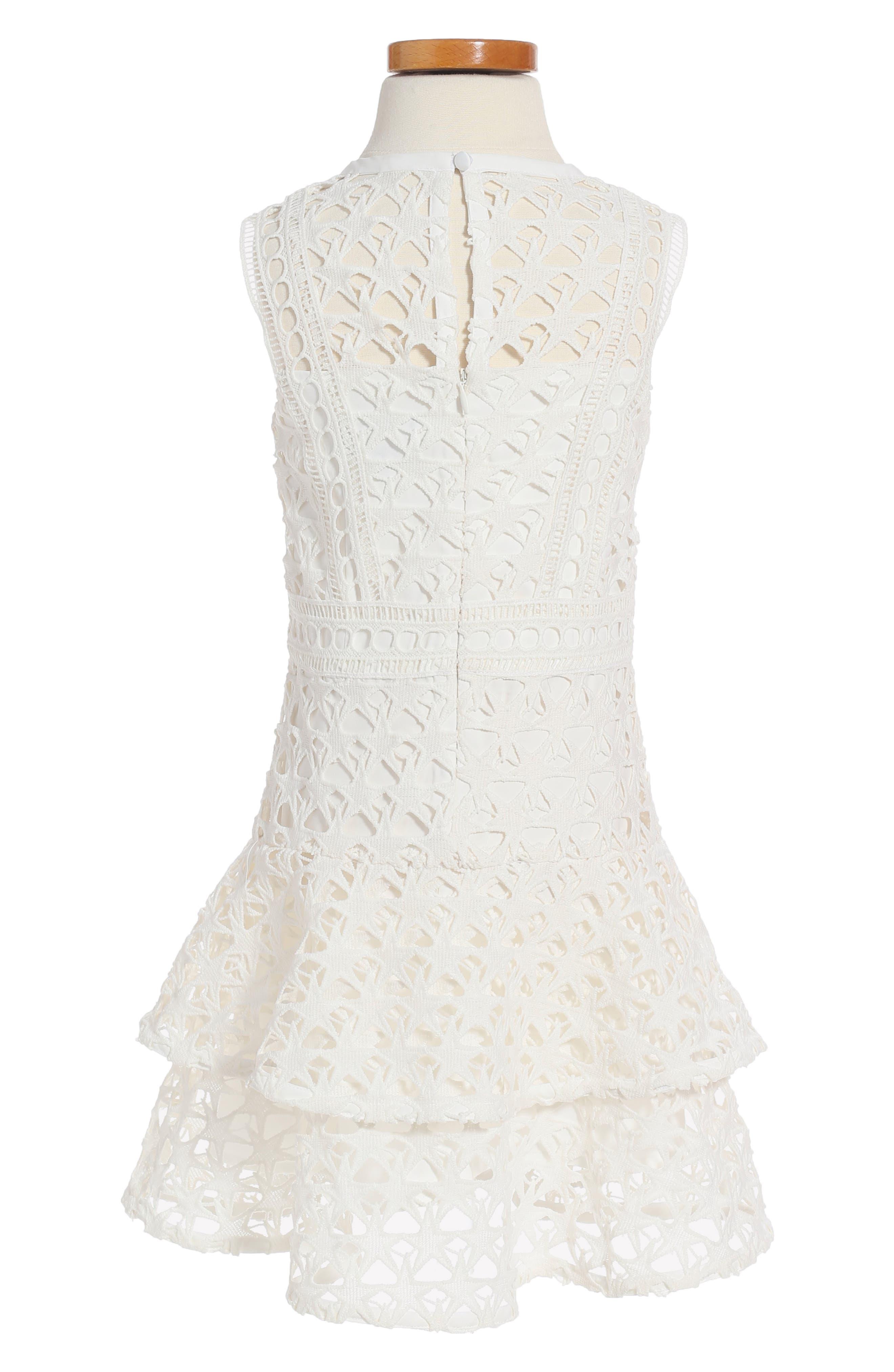 Junior Star Lace Dress,                             Alternate thumbnail 2, color,                             White