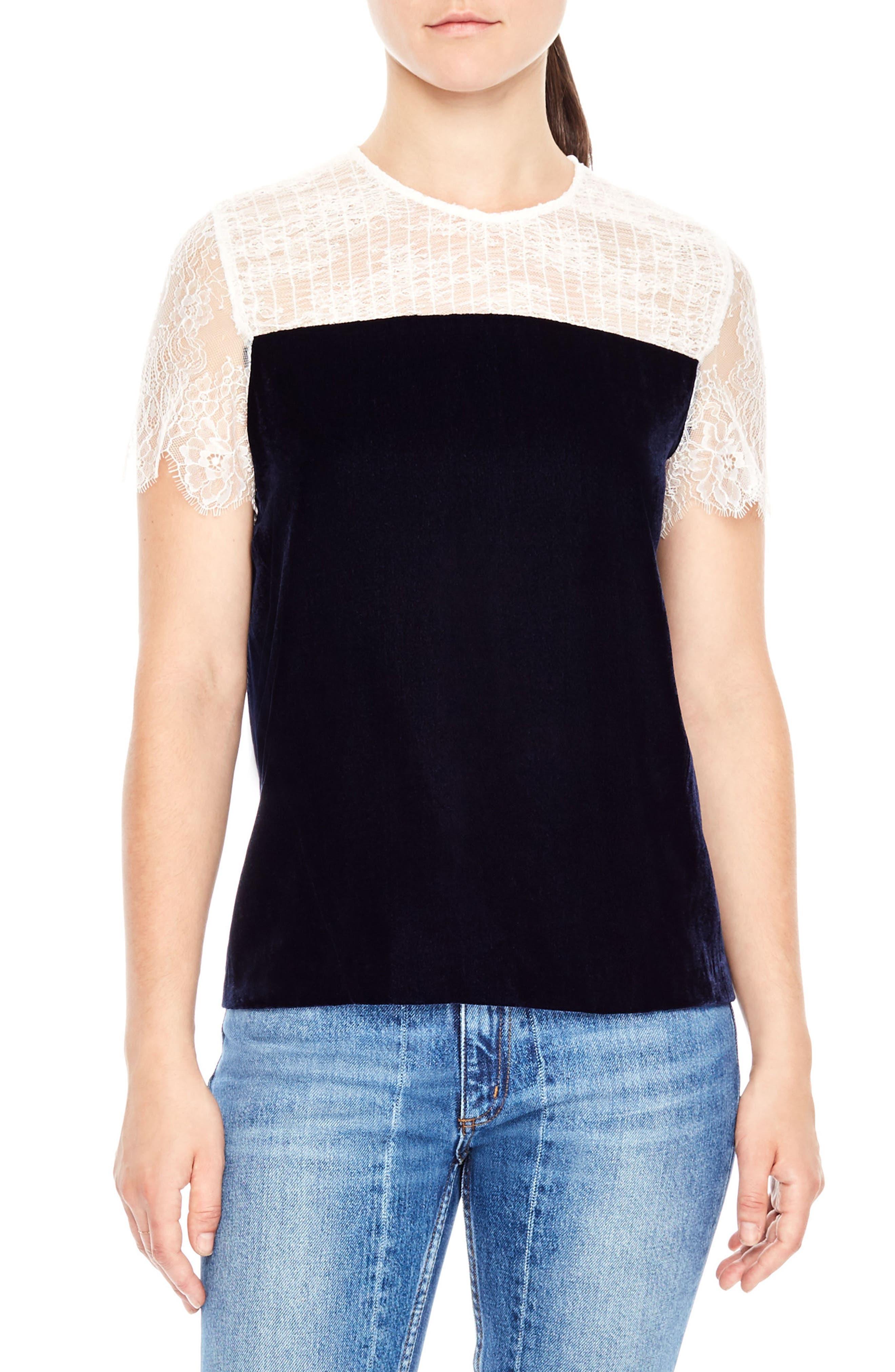sandro Lace Shoulder Velvet Top