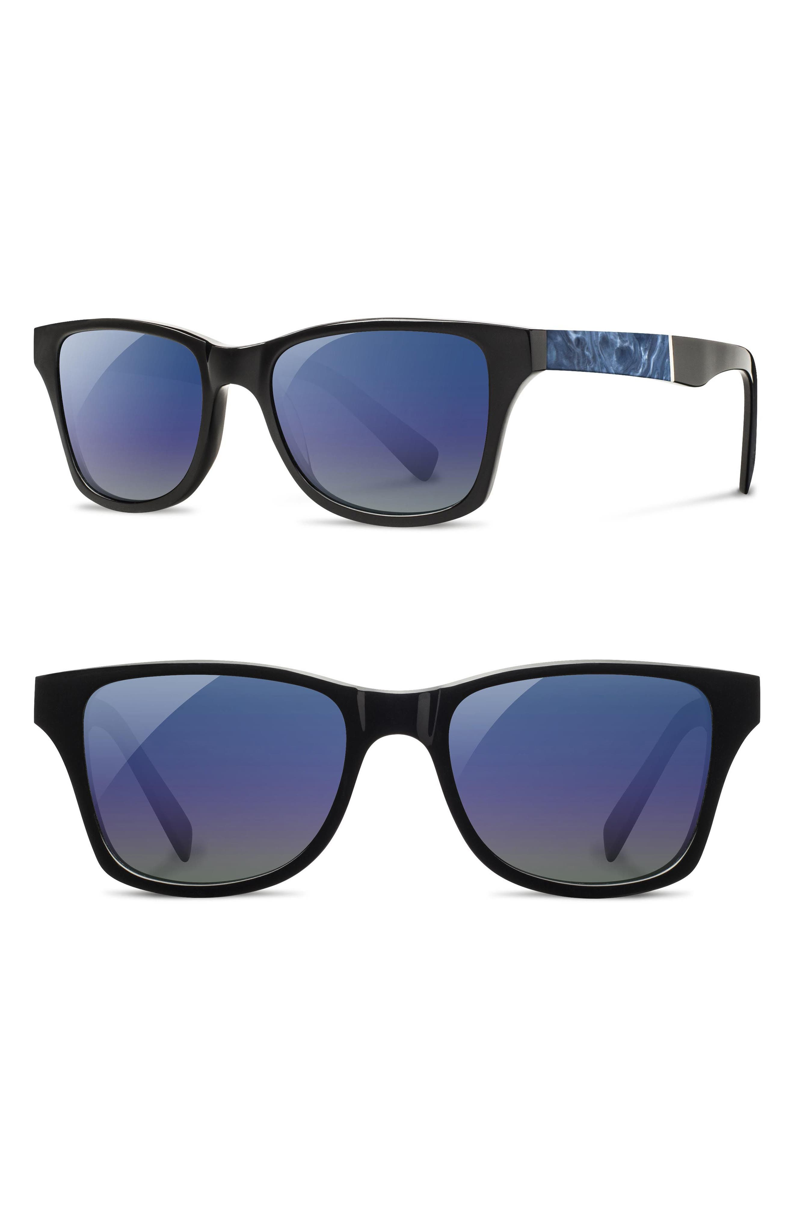 'Canby' 53mm Polarized Sunglasses,                             Main thumbnail 1, color,                             Black/ Surf Resin/ Blue