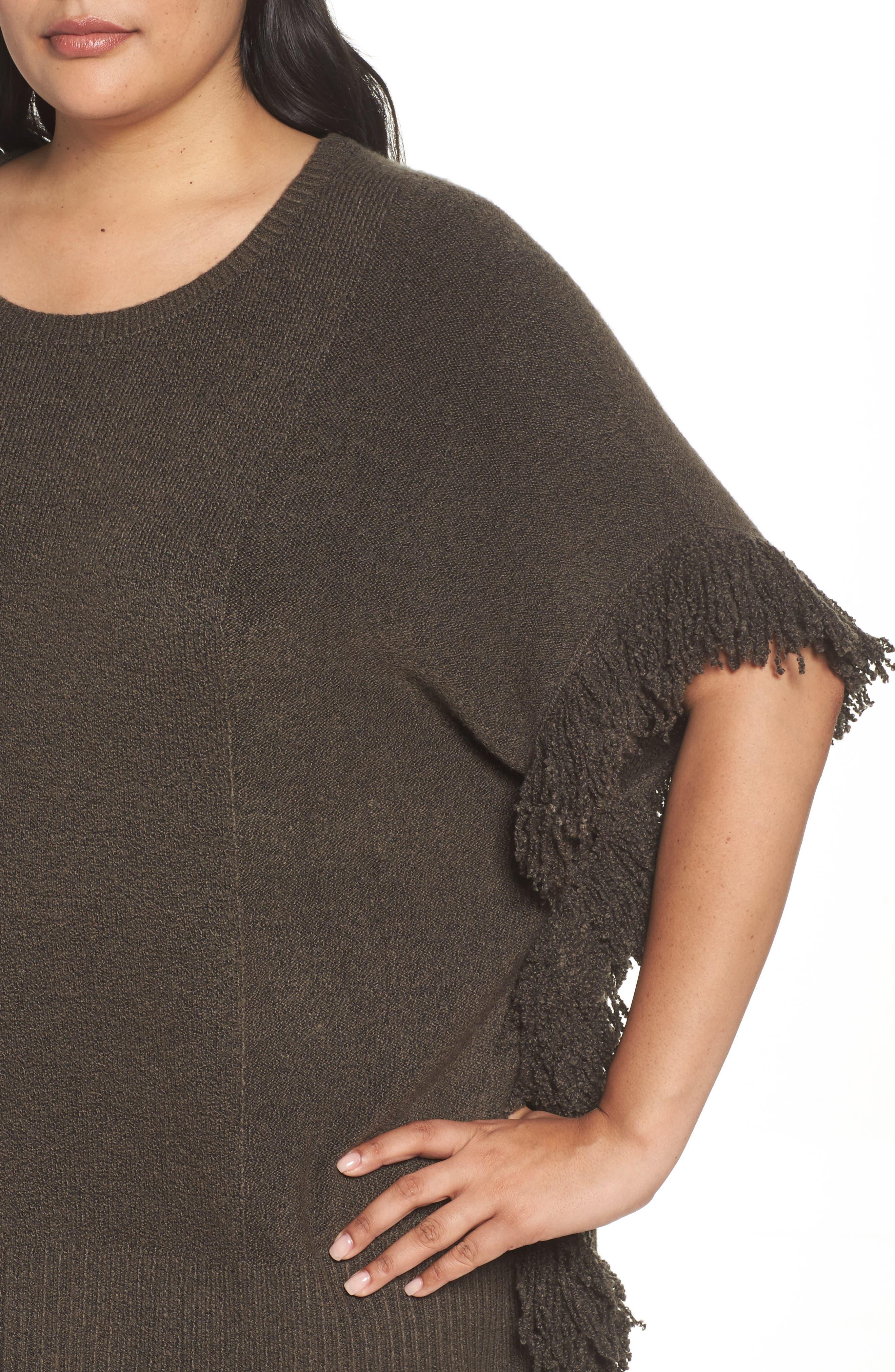 Fringe Poncho Sweater,                             Alternate thumbnail 5, color,                             Olive