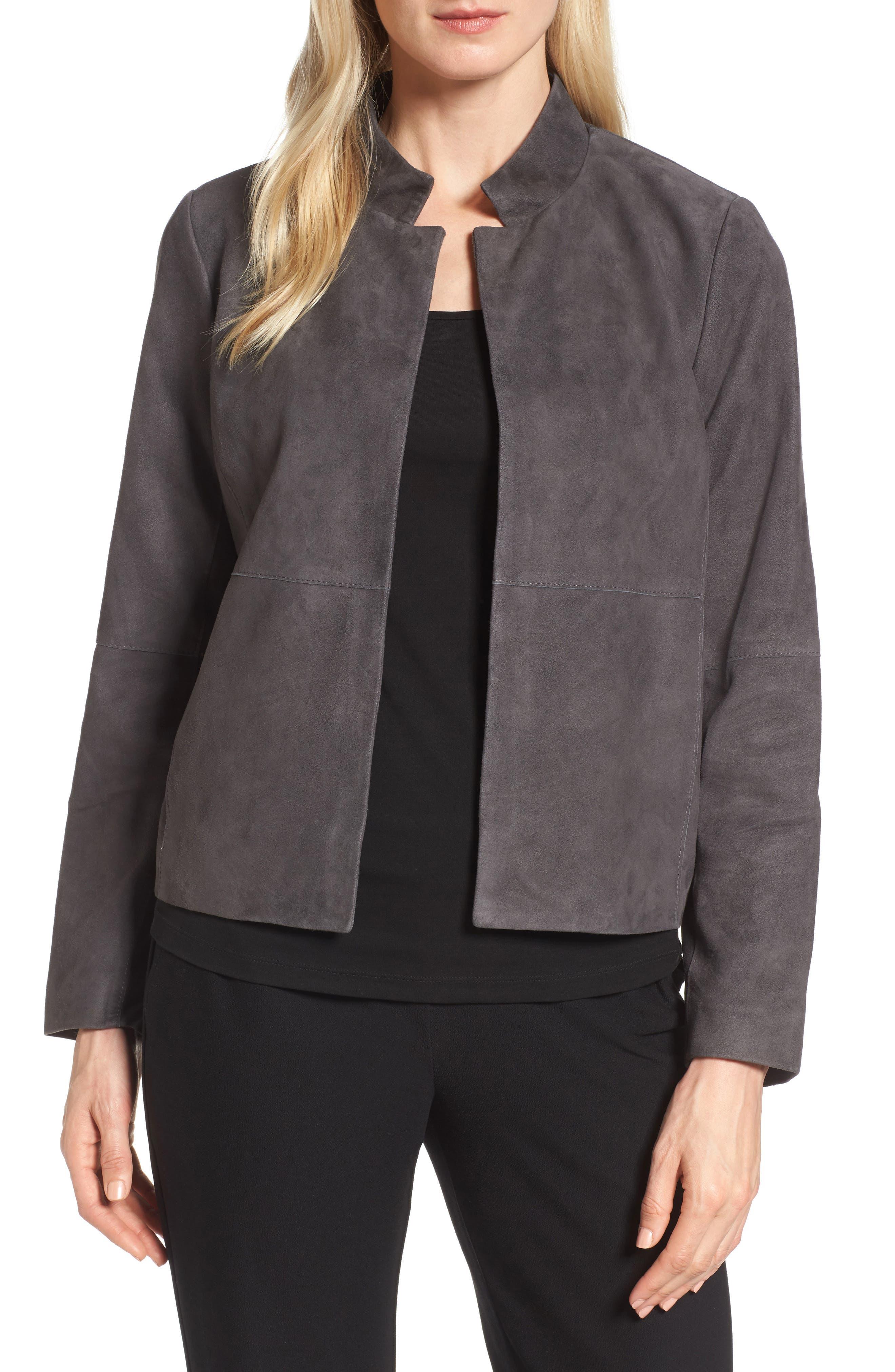 Suede Jacket,                         Main,                         color, Bark