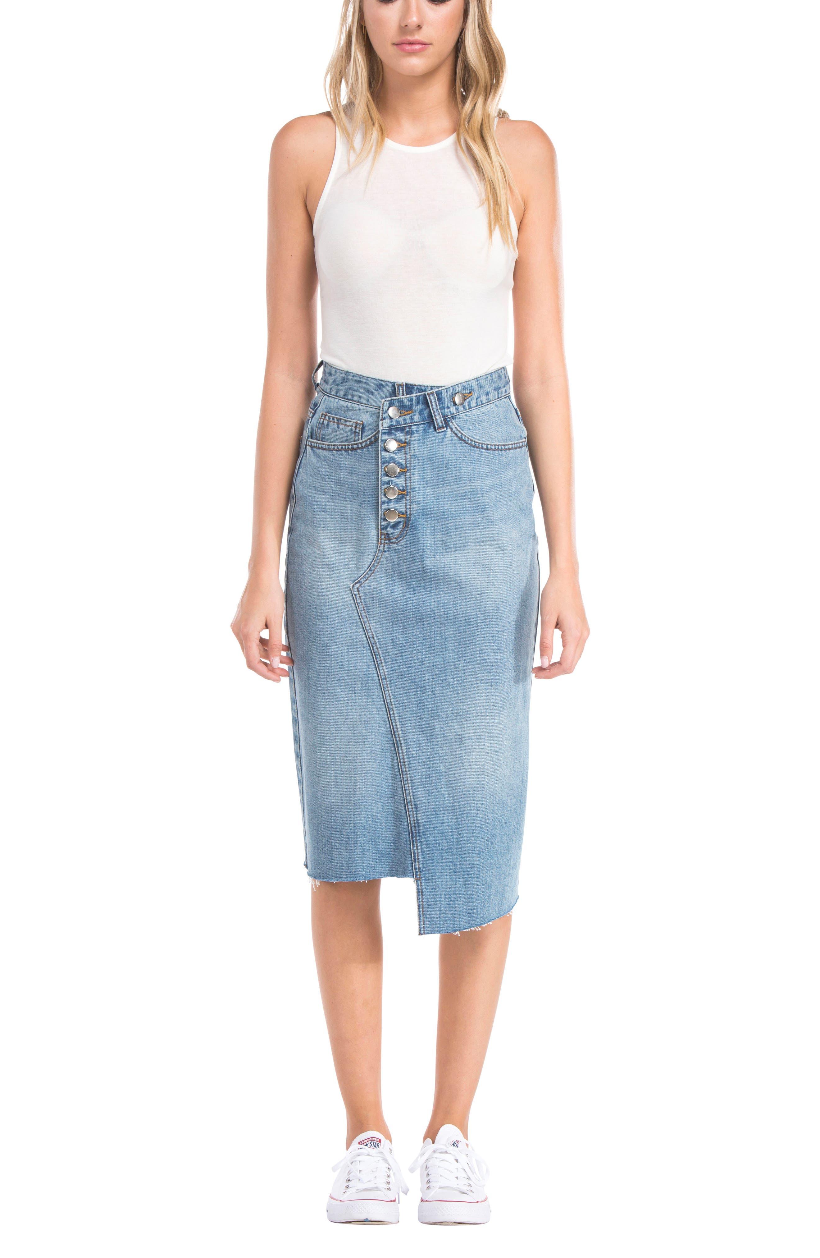 Asymmetrical Denim Pencil Skirt,                             Alternate thumbnail 2, color,                             Light Blue
