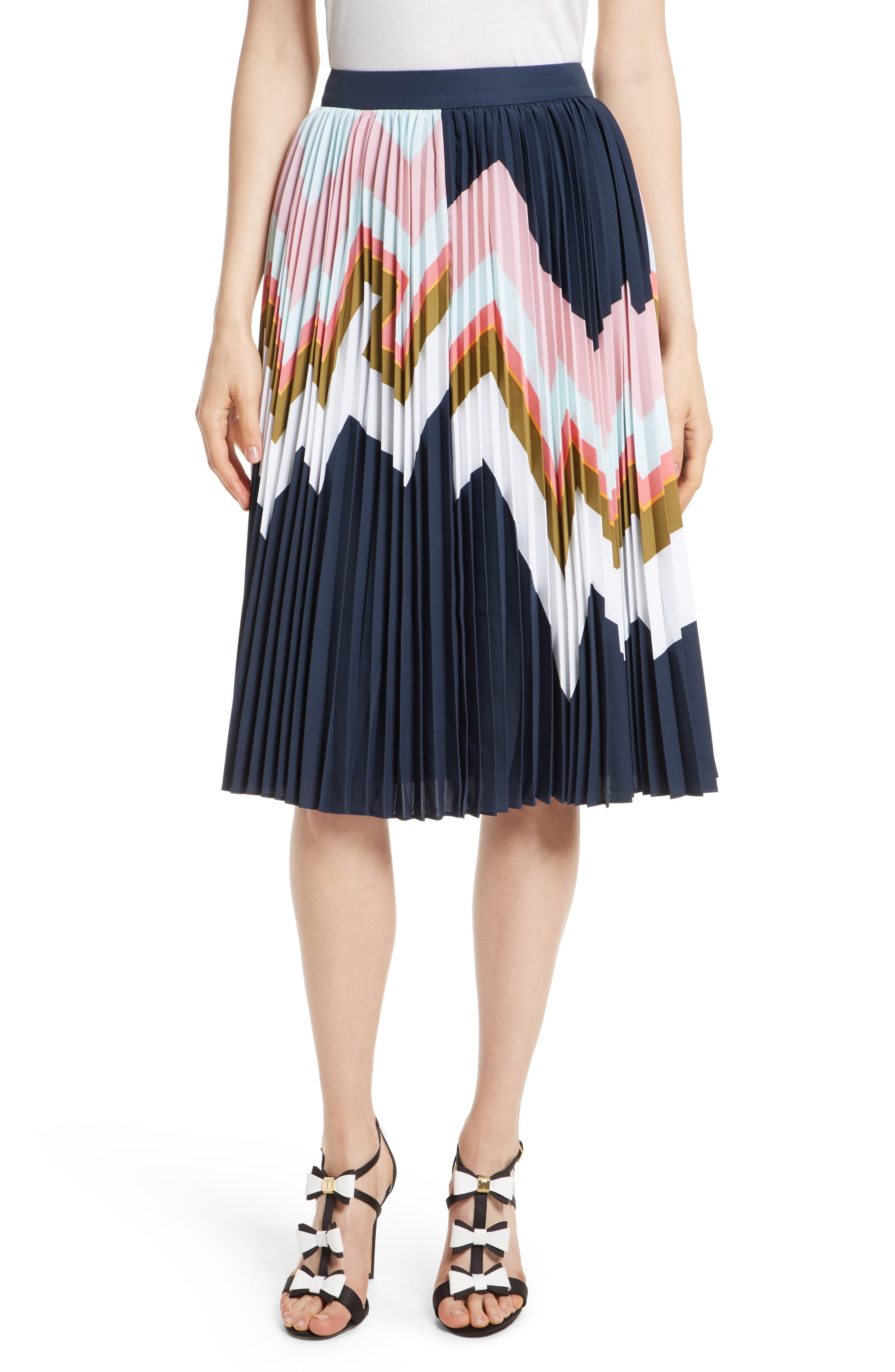 Evianna Mississippi Print Pleated Skirt,                         Main,                         color, Navy