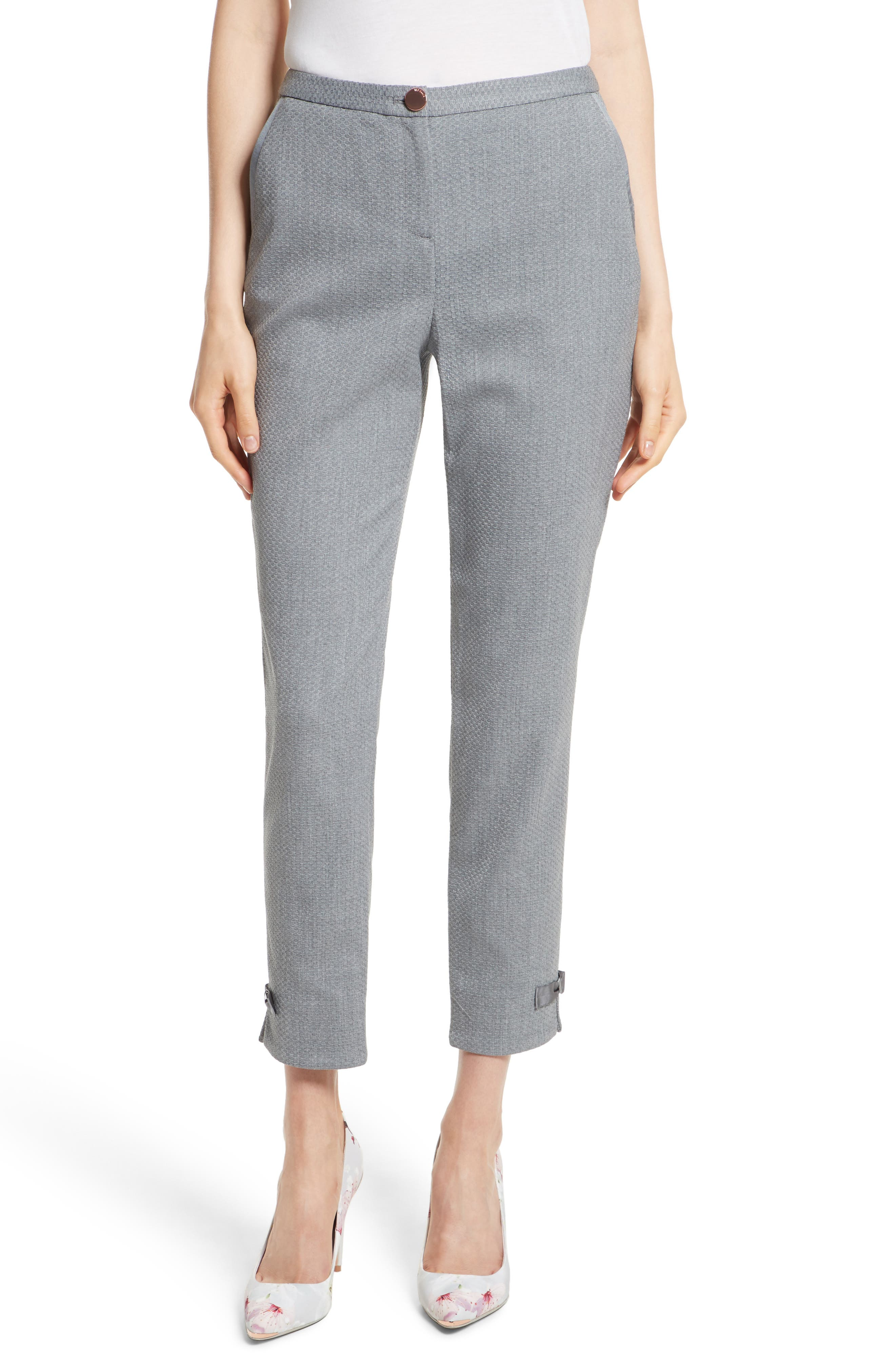 Nadaet Bow Detail Textured Ankle Trousers,                         Main,                         color, Mid Grey