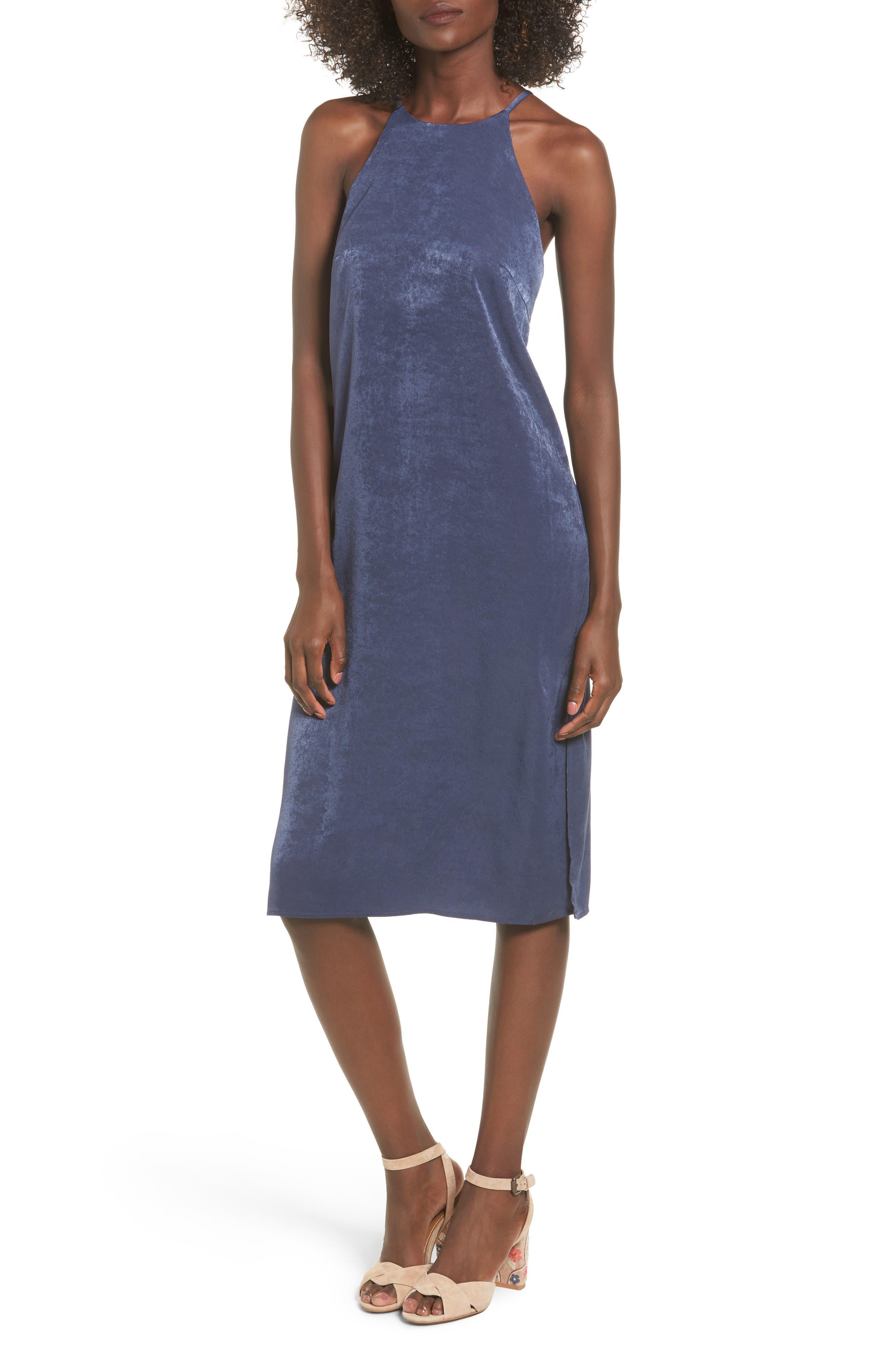 High Neck Shift Dress,                         Main,                         color, Dark Denim
