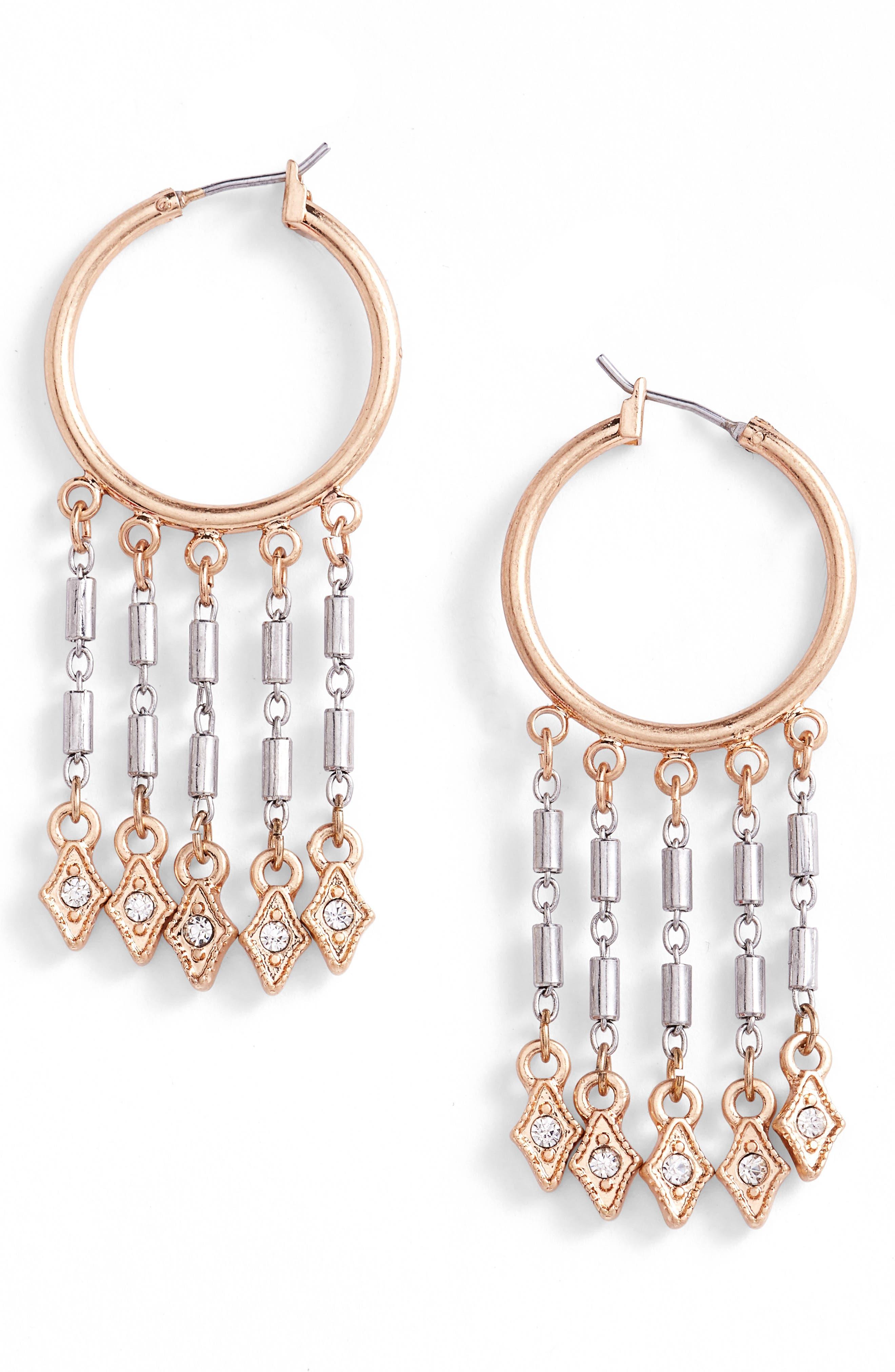 Medium Fringe Hoop Earrings,                         Main,                         color, Clear- Gold- Rhodium