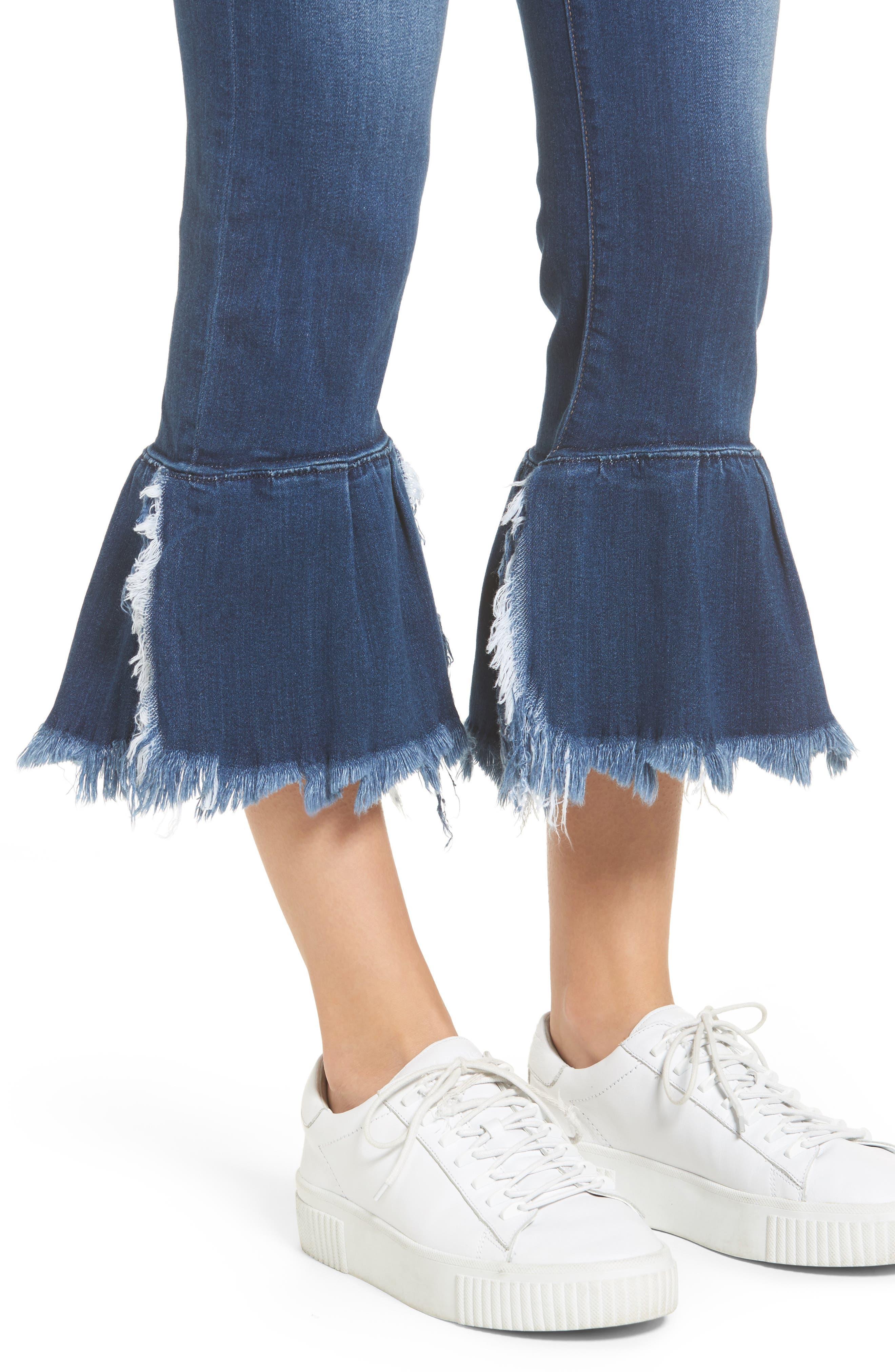 Ruffle Hem Jeans,                             Alternate thumbnail 4, color,                             Med Wash