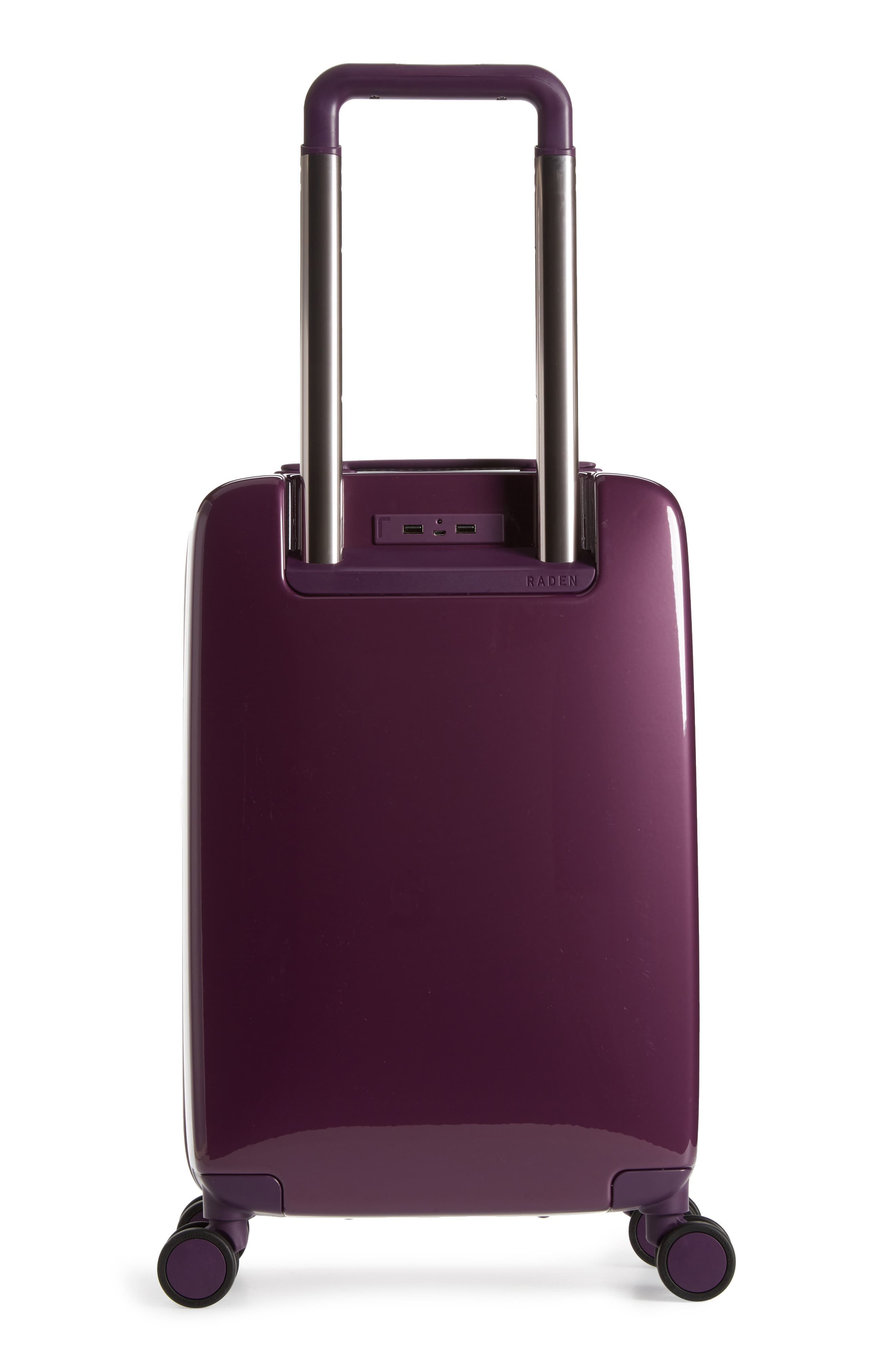 The A22 22-Inch Charging Wheeled Carry-On,                             Alternate thumbnail 3, color,                             Shadow Purple Gloss