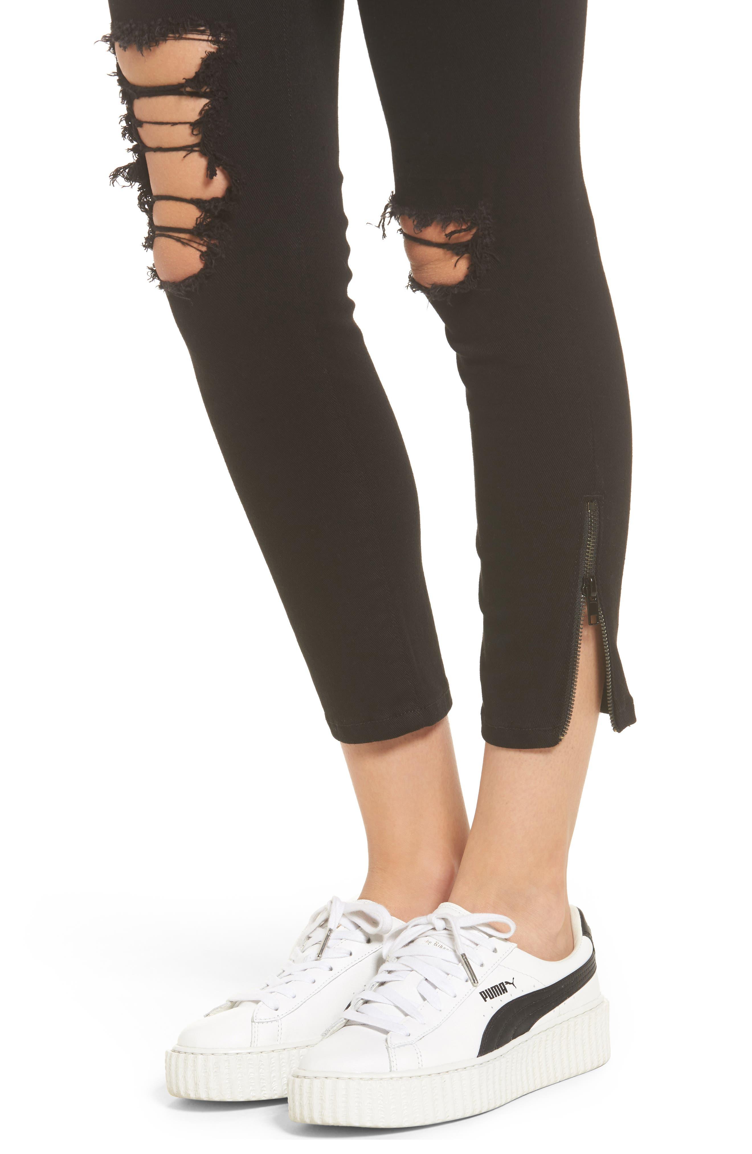 Emma Side Zip Skinny Jeans,                             Alternate thumbnail 4, color,                             Black