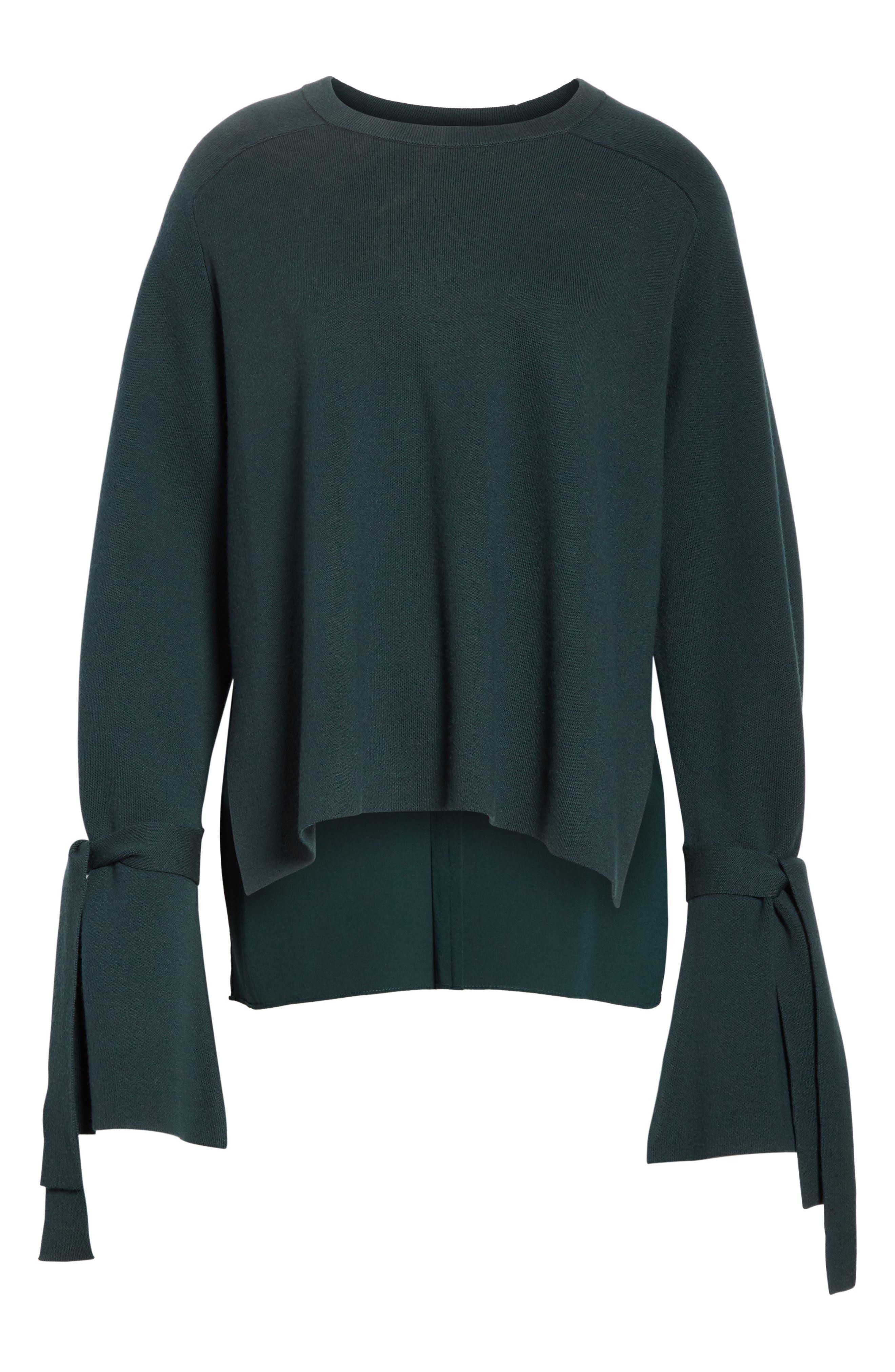 Merino Wool & Silk Bell Sleeve Pullover,                             Main thumbnail 1, color,                             Dark Green
