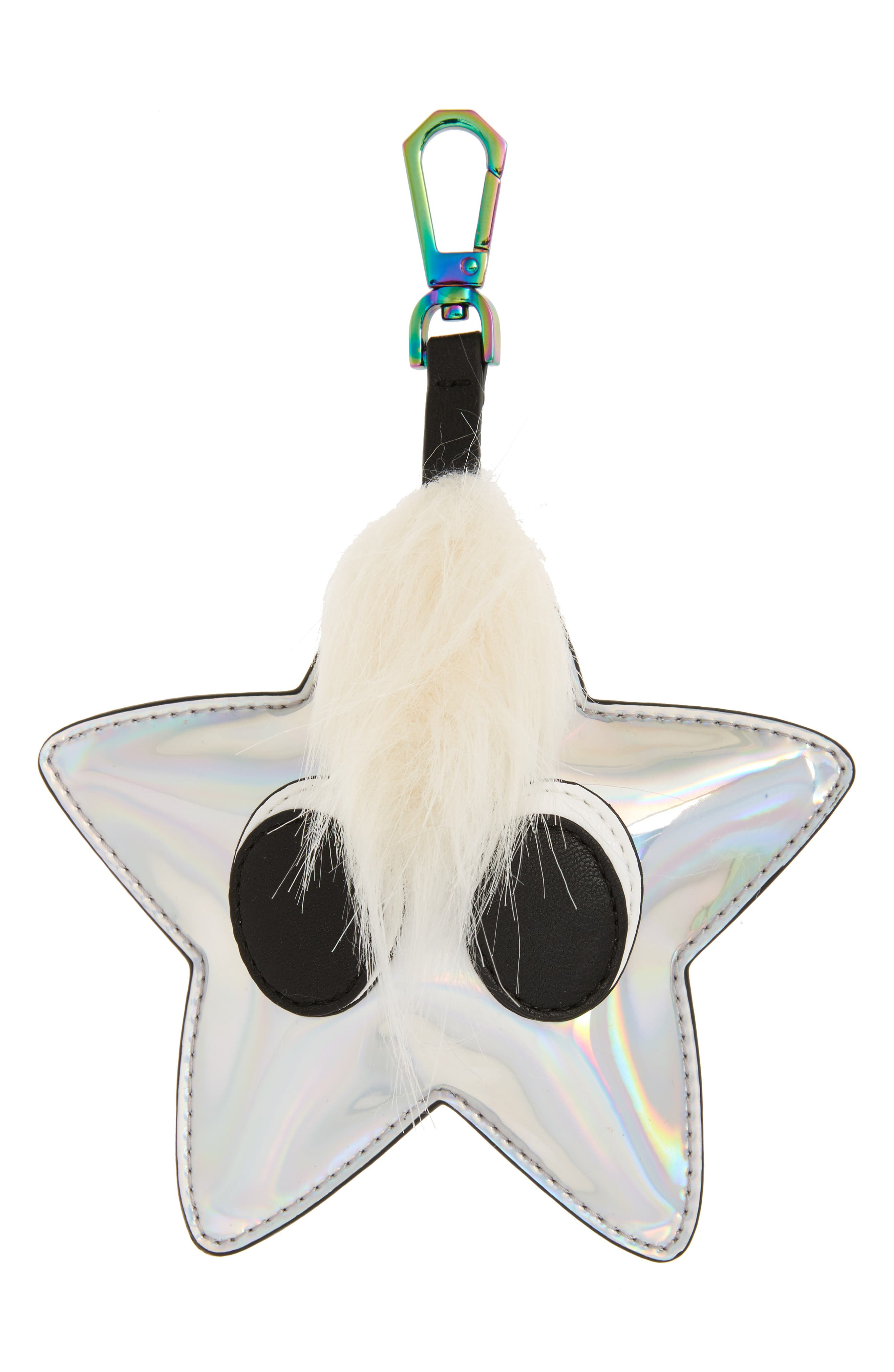 Starboy Bag Charm,                             Main thumbnail 1, color,                             Silver Iridescent