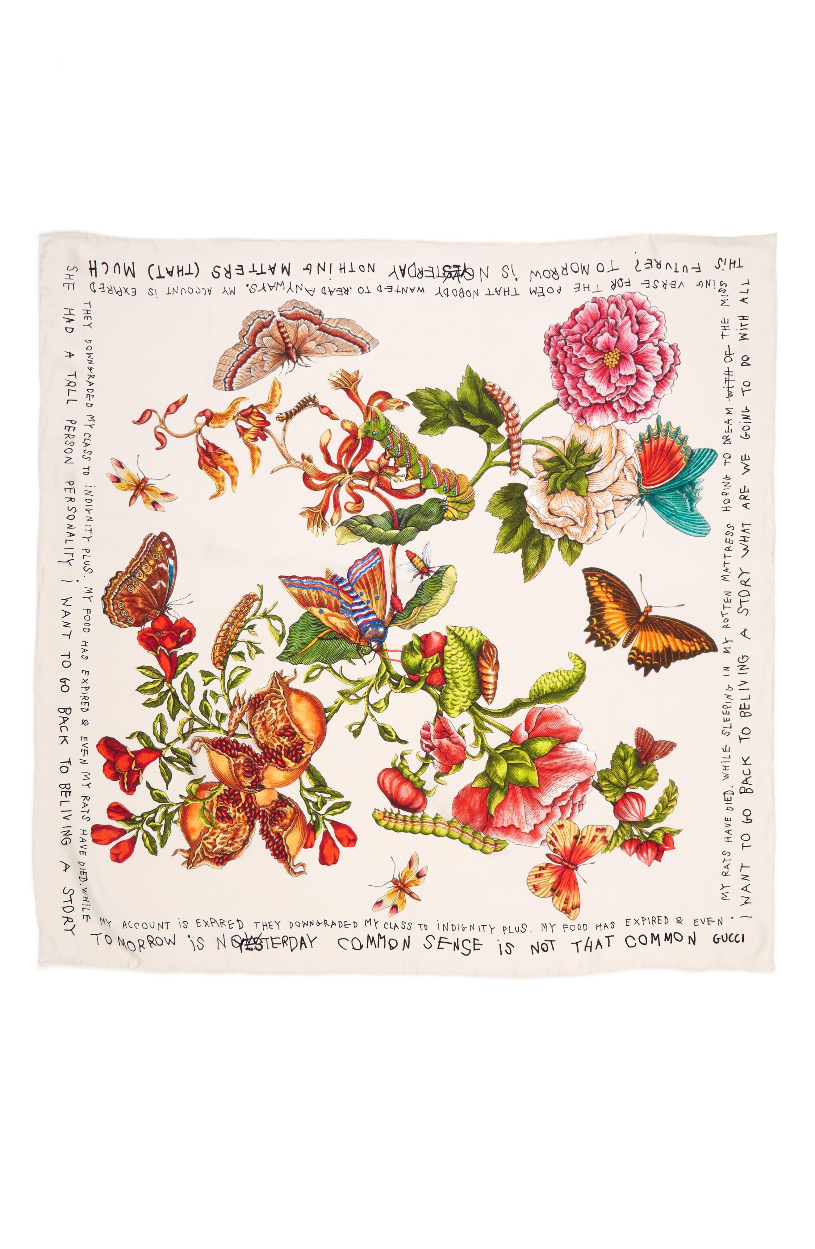 GUCCI Talking Bouquet Square Foulard Silk Scarf