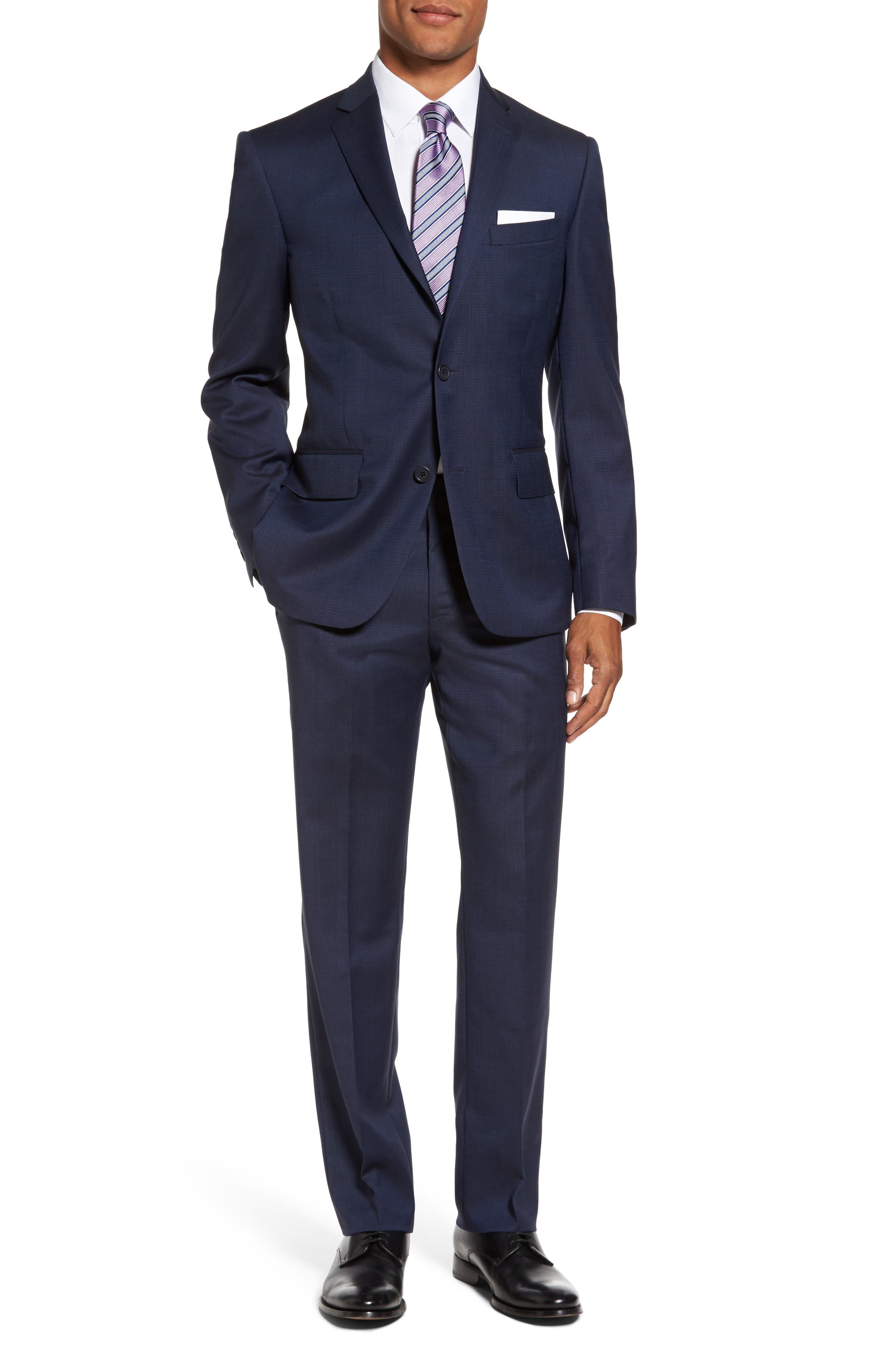 Flat Front Check Wool Trousers,                             Alternate thumbnail 3, color,                             High Blue