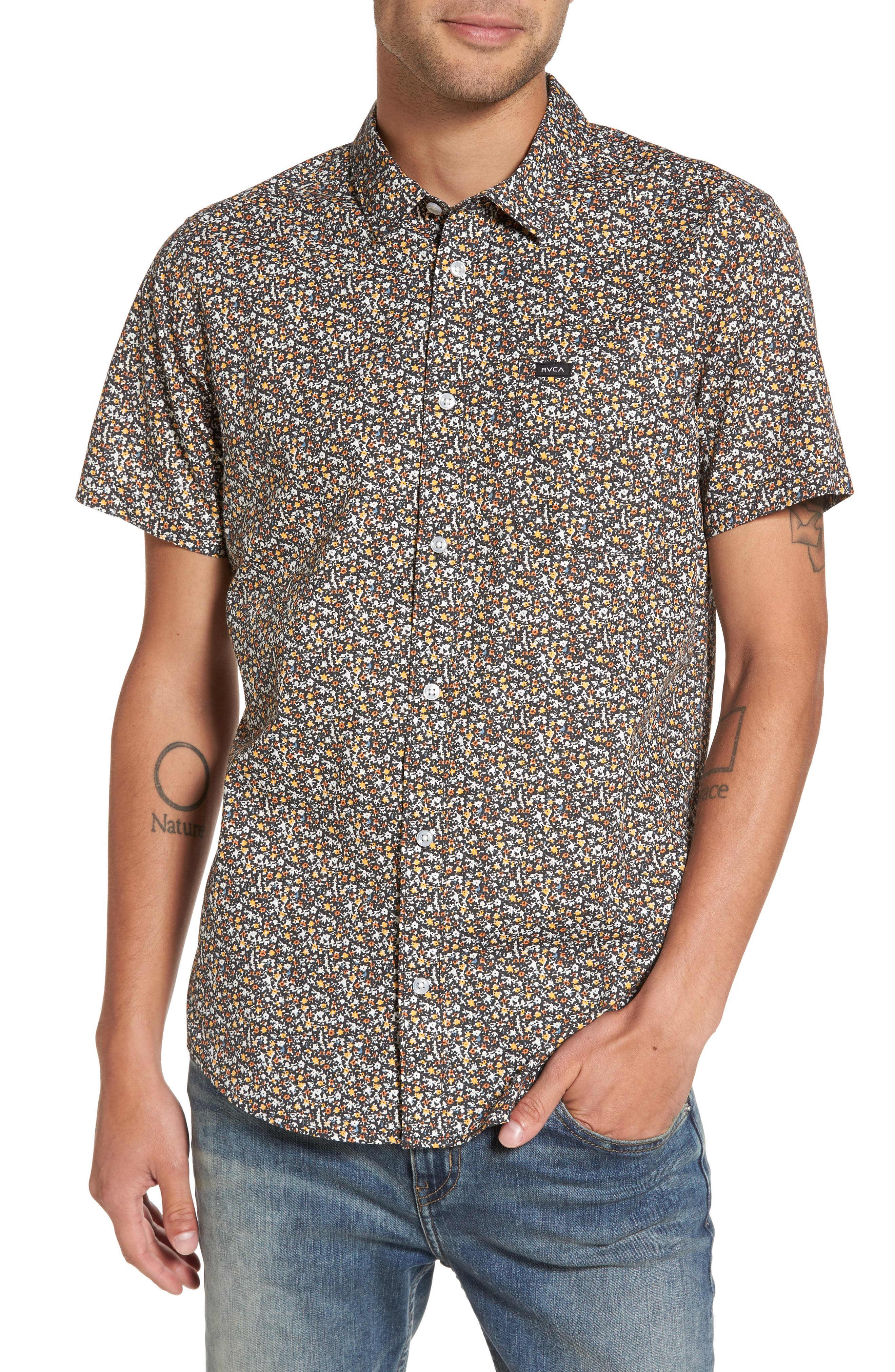 Alternate Image 1 Selected - RVCA Cluster Floral Print Woven Shirt