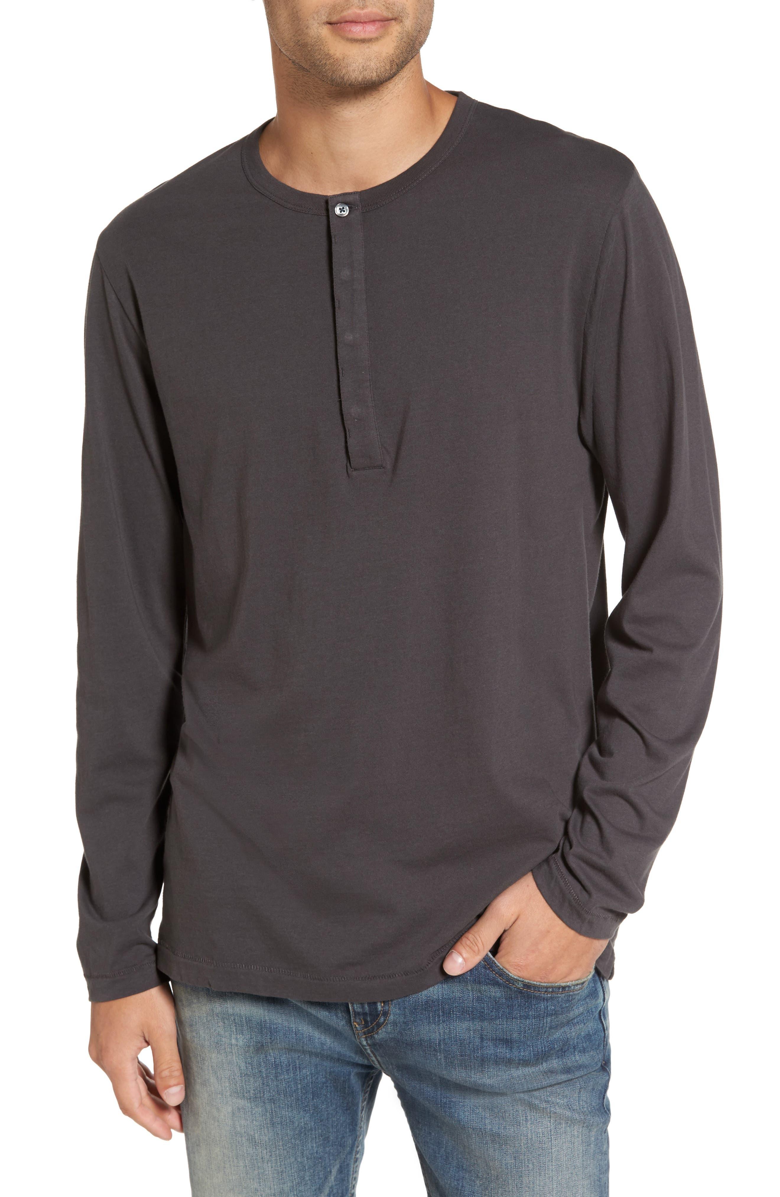 Long-Sleeve Henley T-Shirt,                         Main,                         color, Charcoal