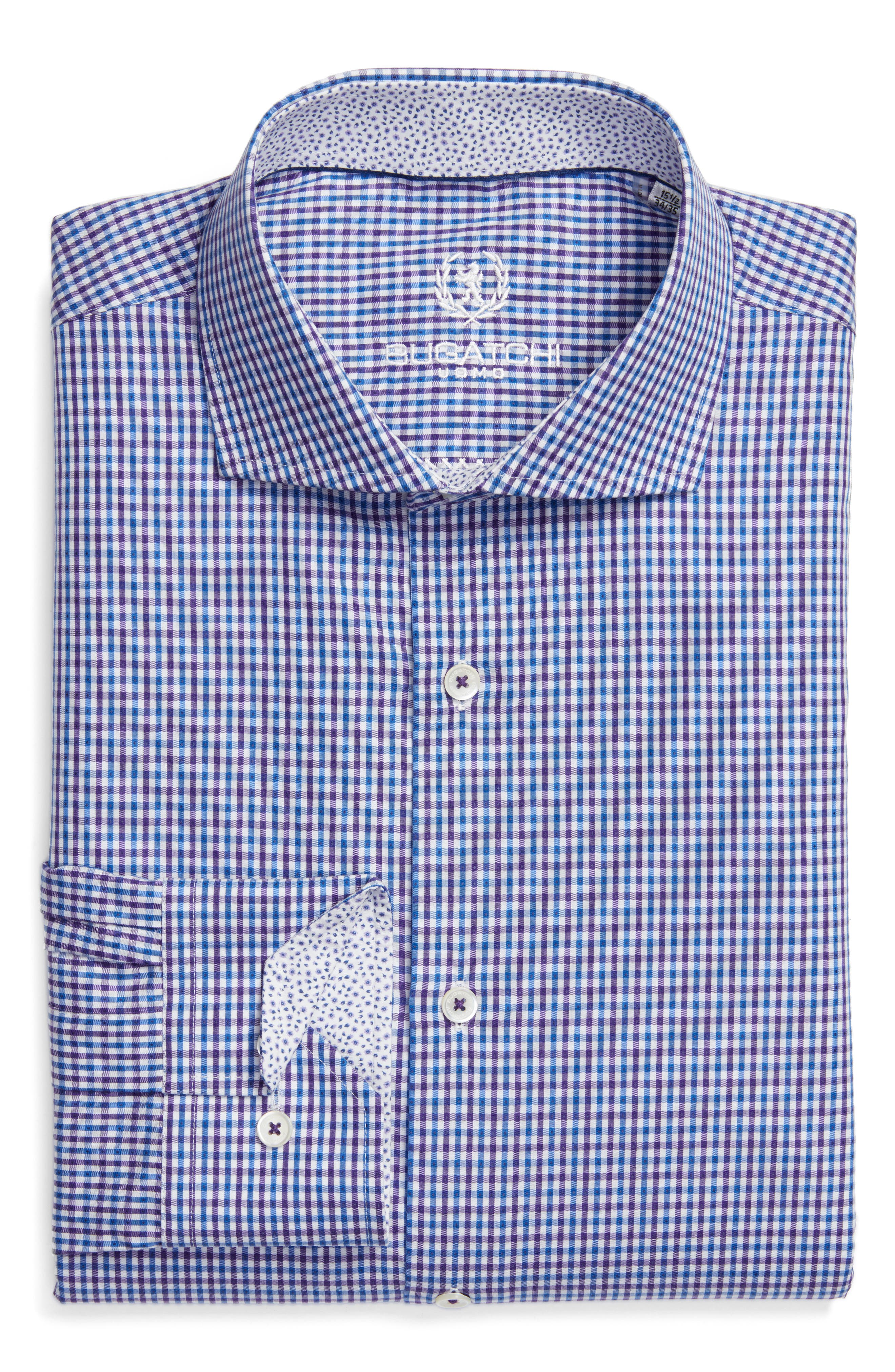 BUGATCHI Trim Fit Check Pattern Dress Shirt
