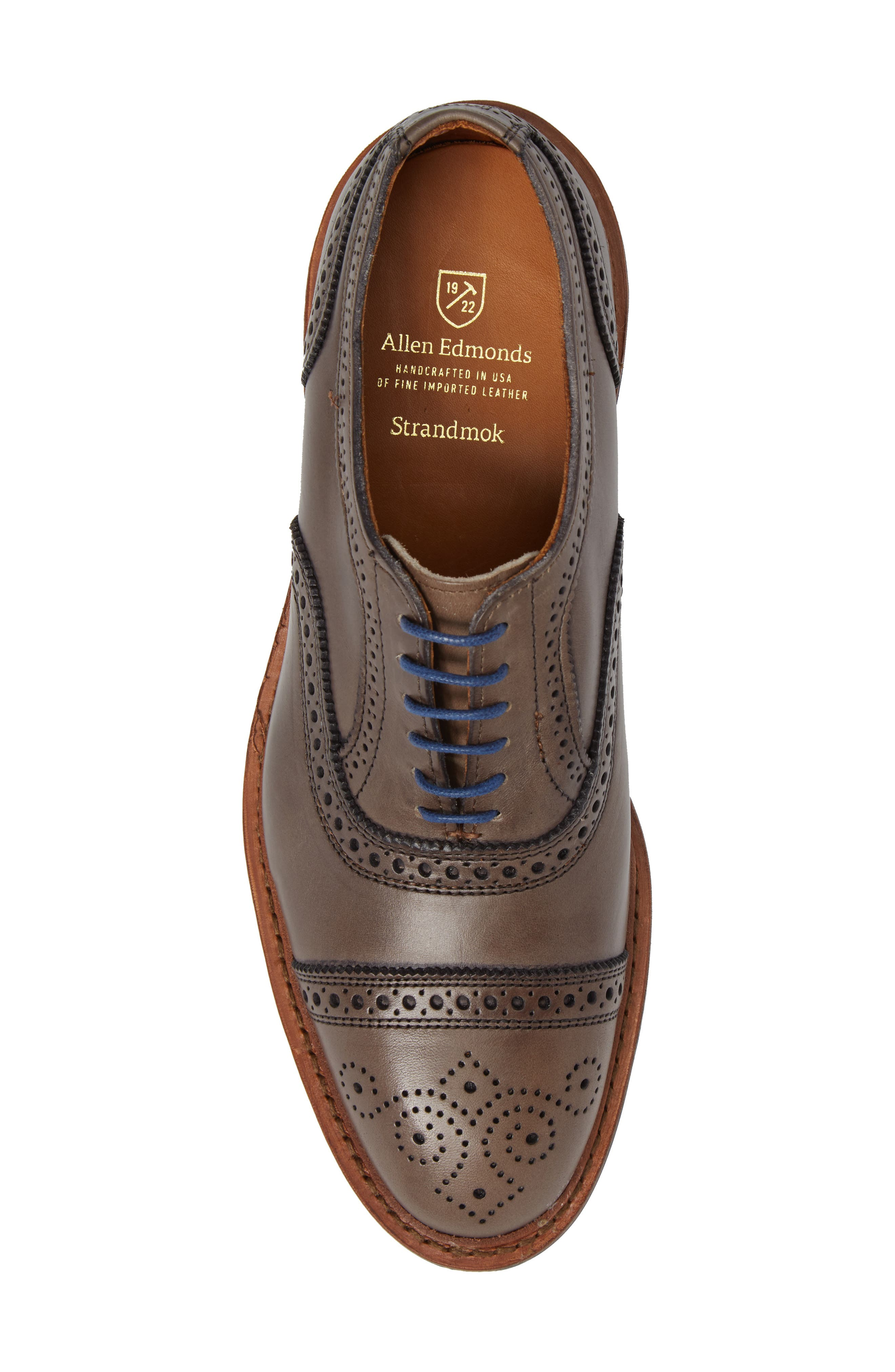 'Strandmok' Cap Toe Oxford,                             Alternate thumbnail 4, color,                             Grey Leather