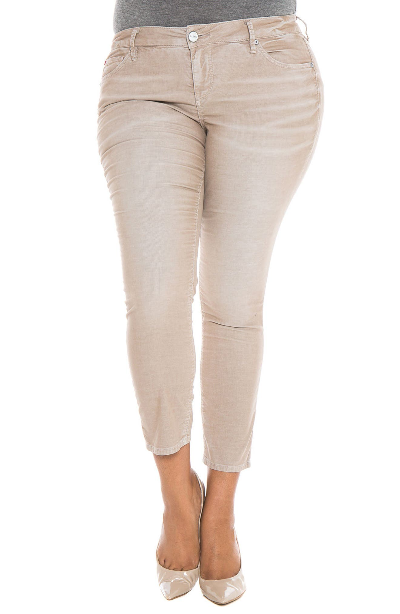 SLINK Jeans Stretch Corduroy Cropped Skinny Pants (Plus Size)