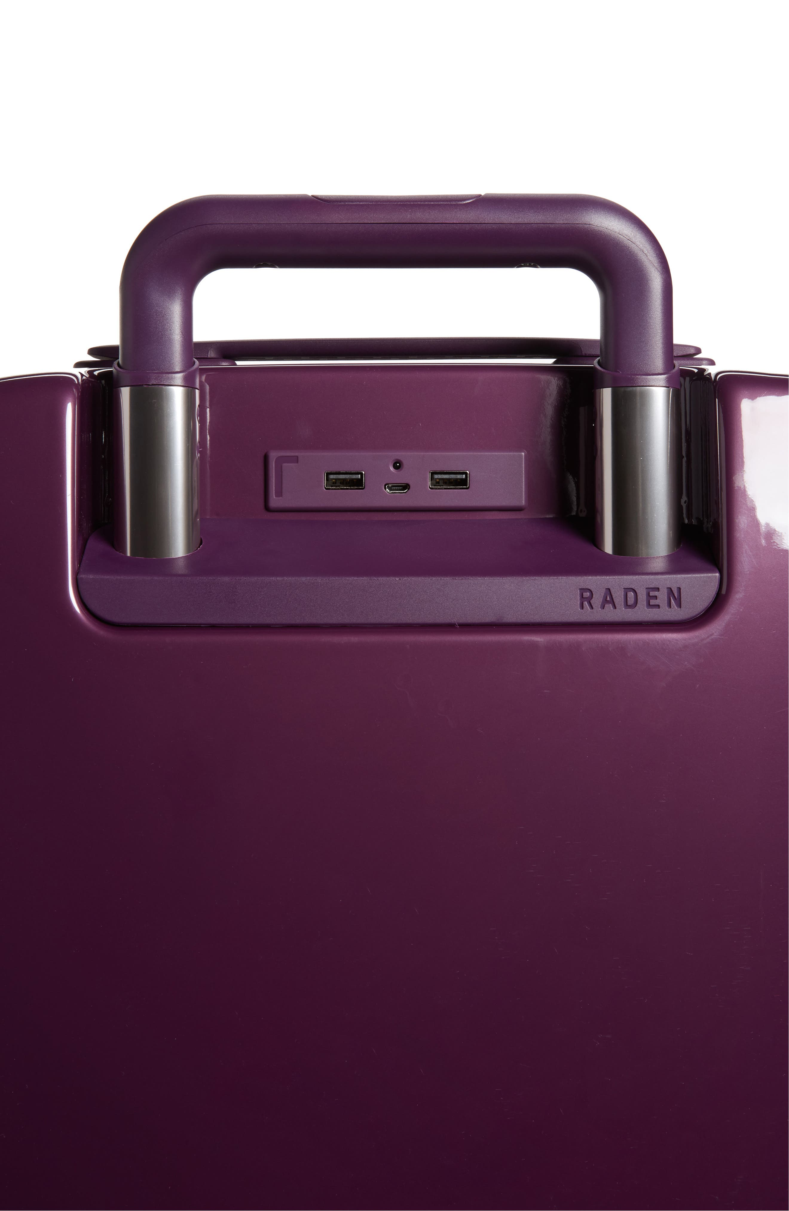 The A22 22-Inch Charging Wheeled Carry-On,                             Alternate thumbnail 5, color,                             Shadow Purple Gloss