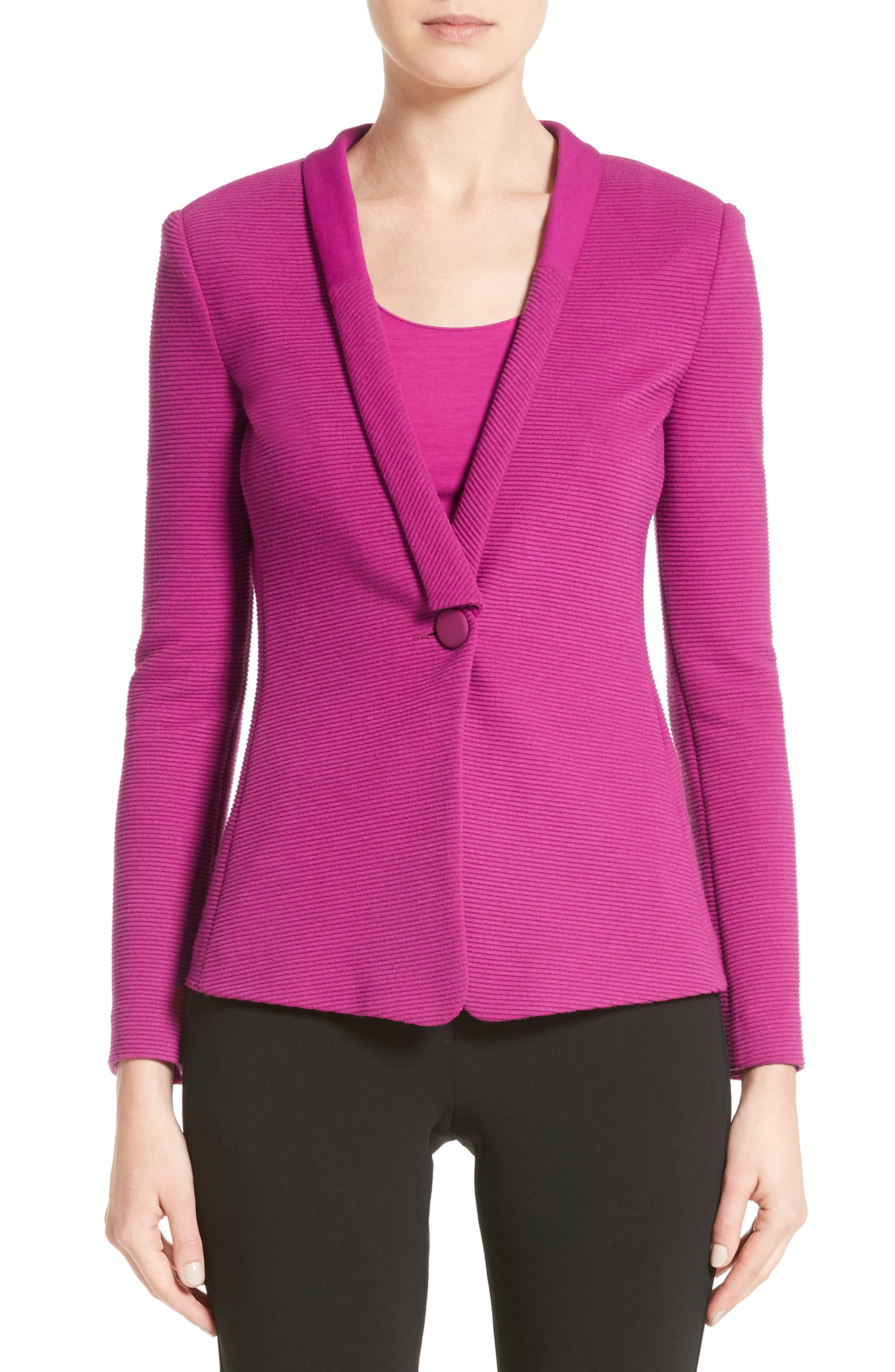 Ottoman Jersey One Button Jacket,                         Main,                         color, Orchid