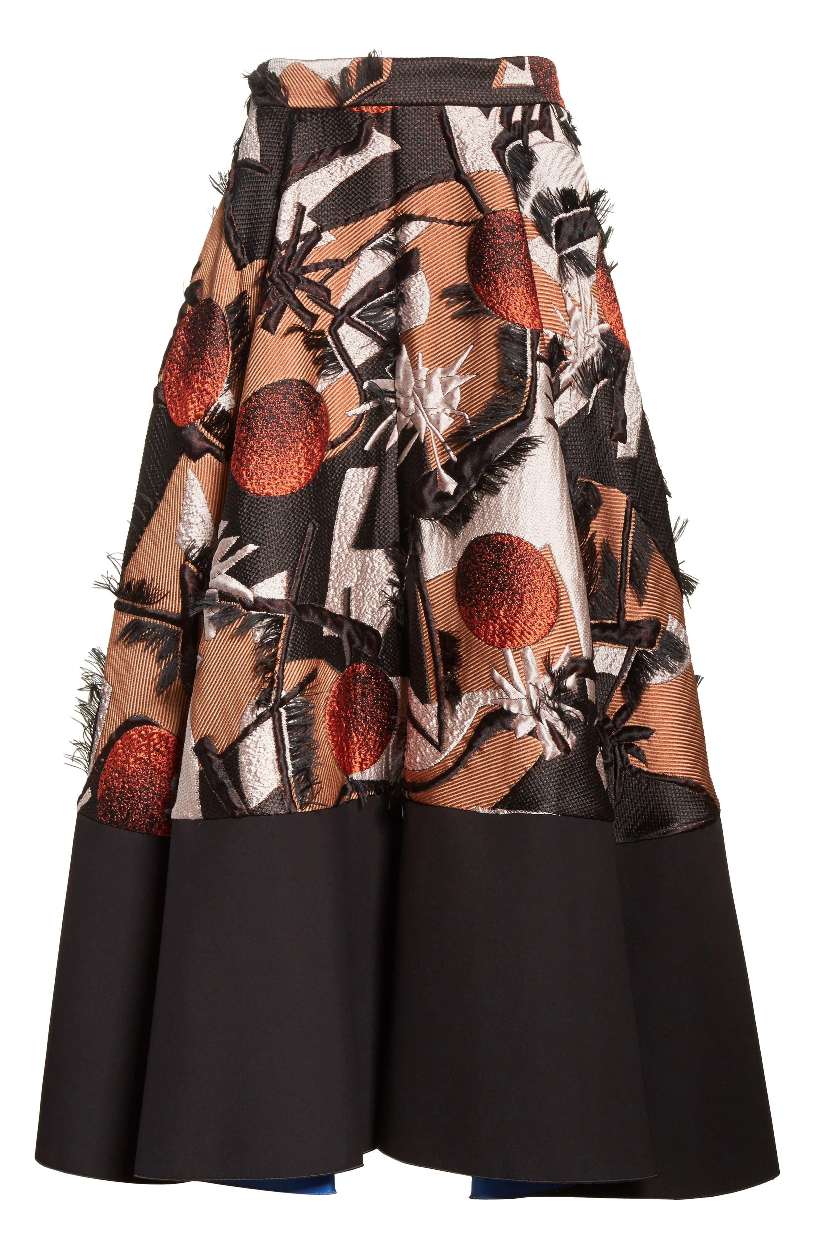 Sharpin Silk Blend Jacquard Skirt,                             Alternate thumbnail 6, color,                             Black Orange Blue