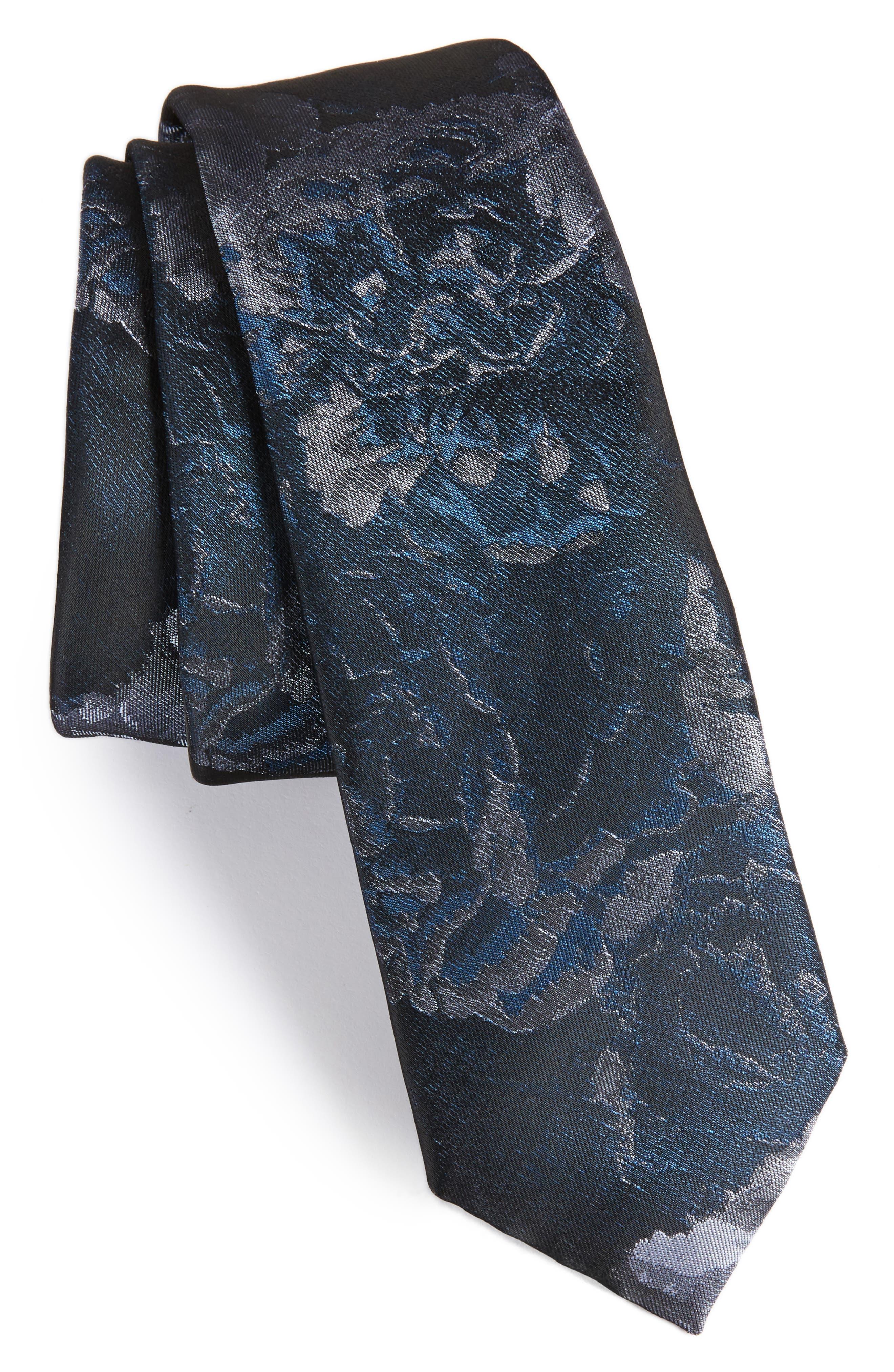Floral Tie,                             Main thumbnail 1, color,                             Navy Blue