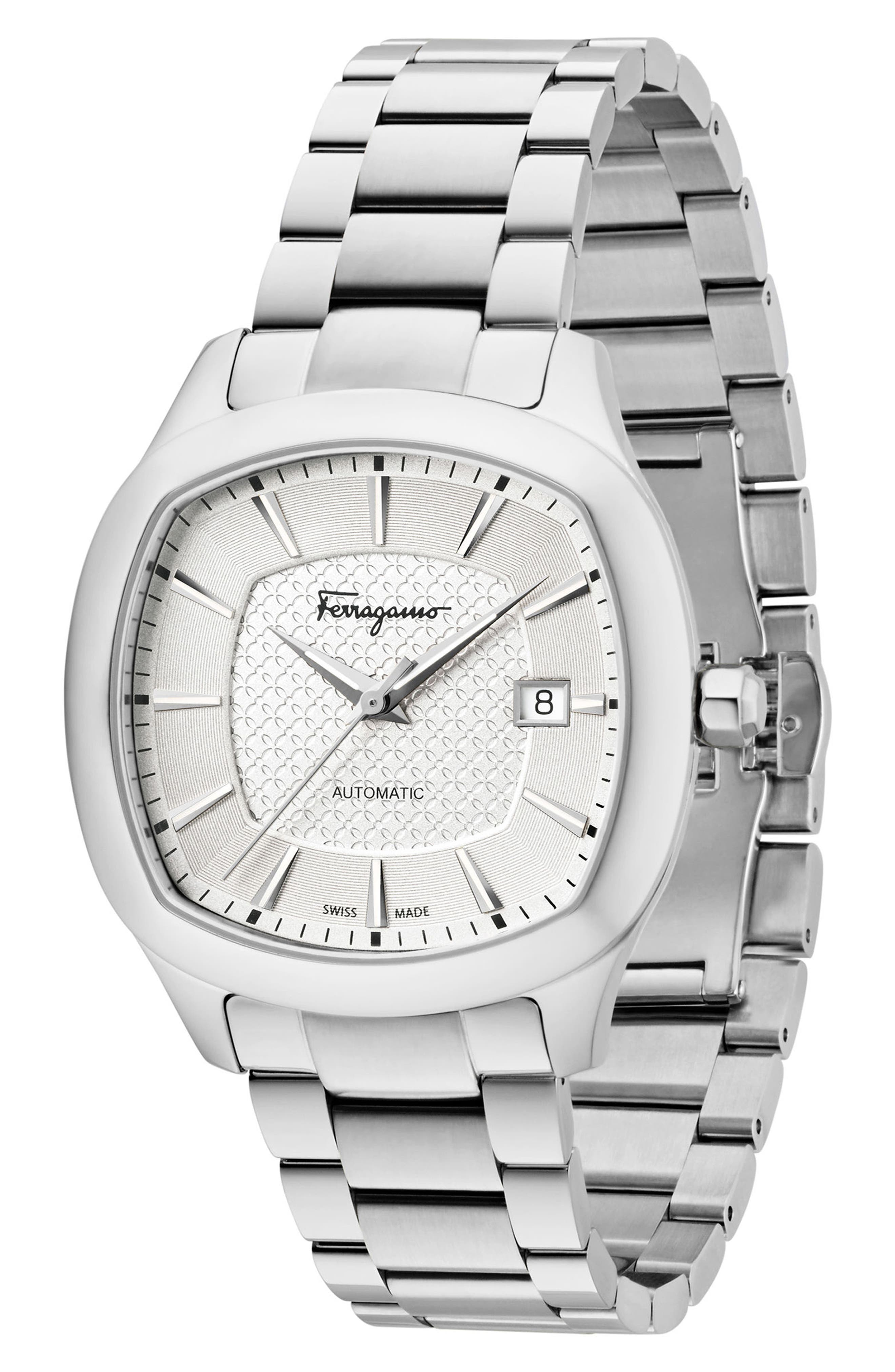 Square Automatic Bracelet Watch, 41mm,                             Alternate thumbnail 4, color,                             Silver