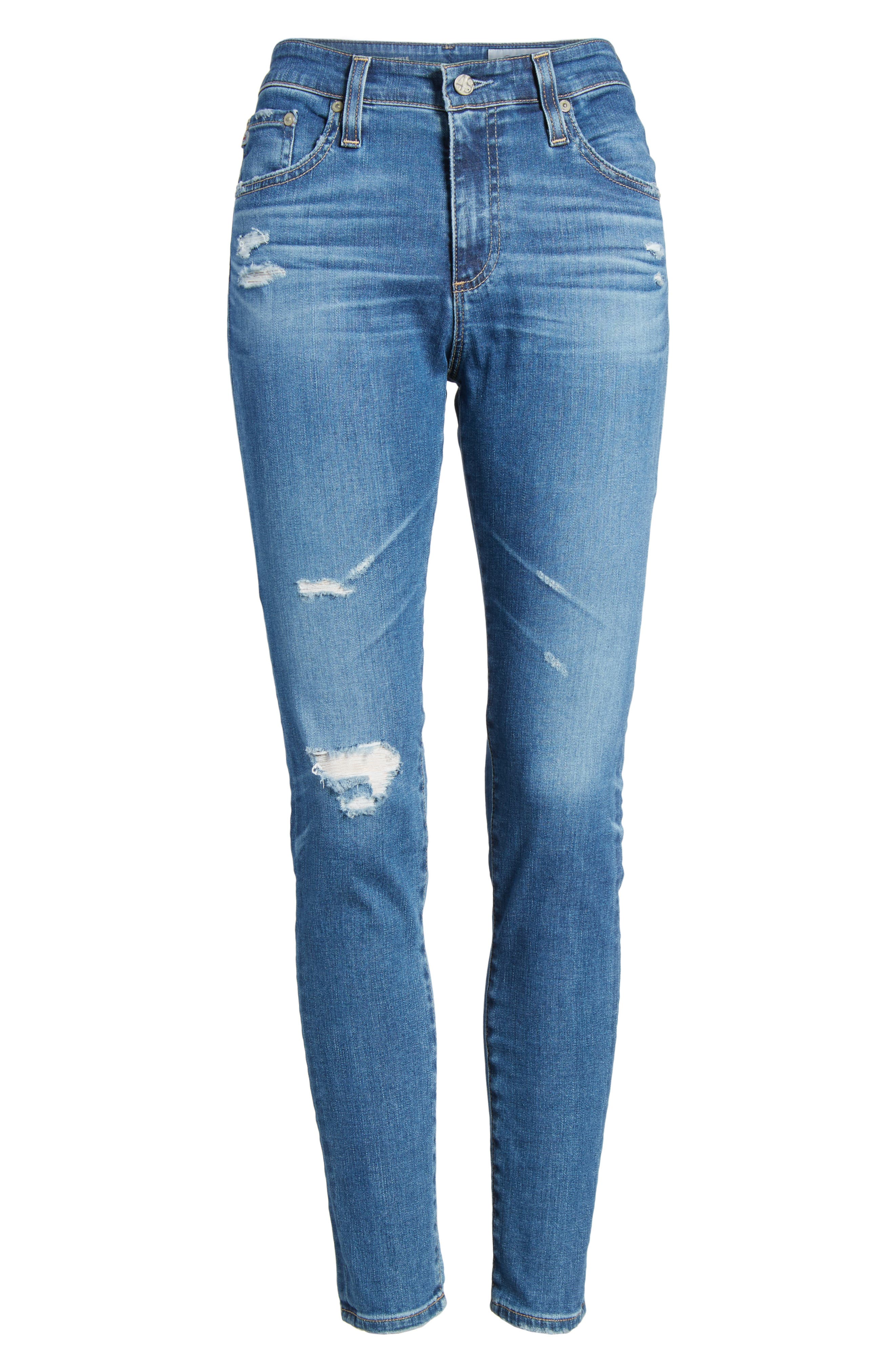 The Farrah High Waist Ankle Skinny Jeans,                             Alternate thumbnail 7, color,                             14 Year Blue Nile Destructed