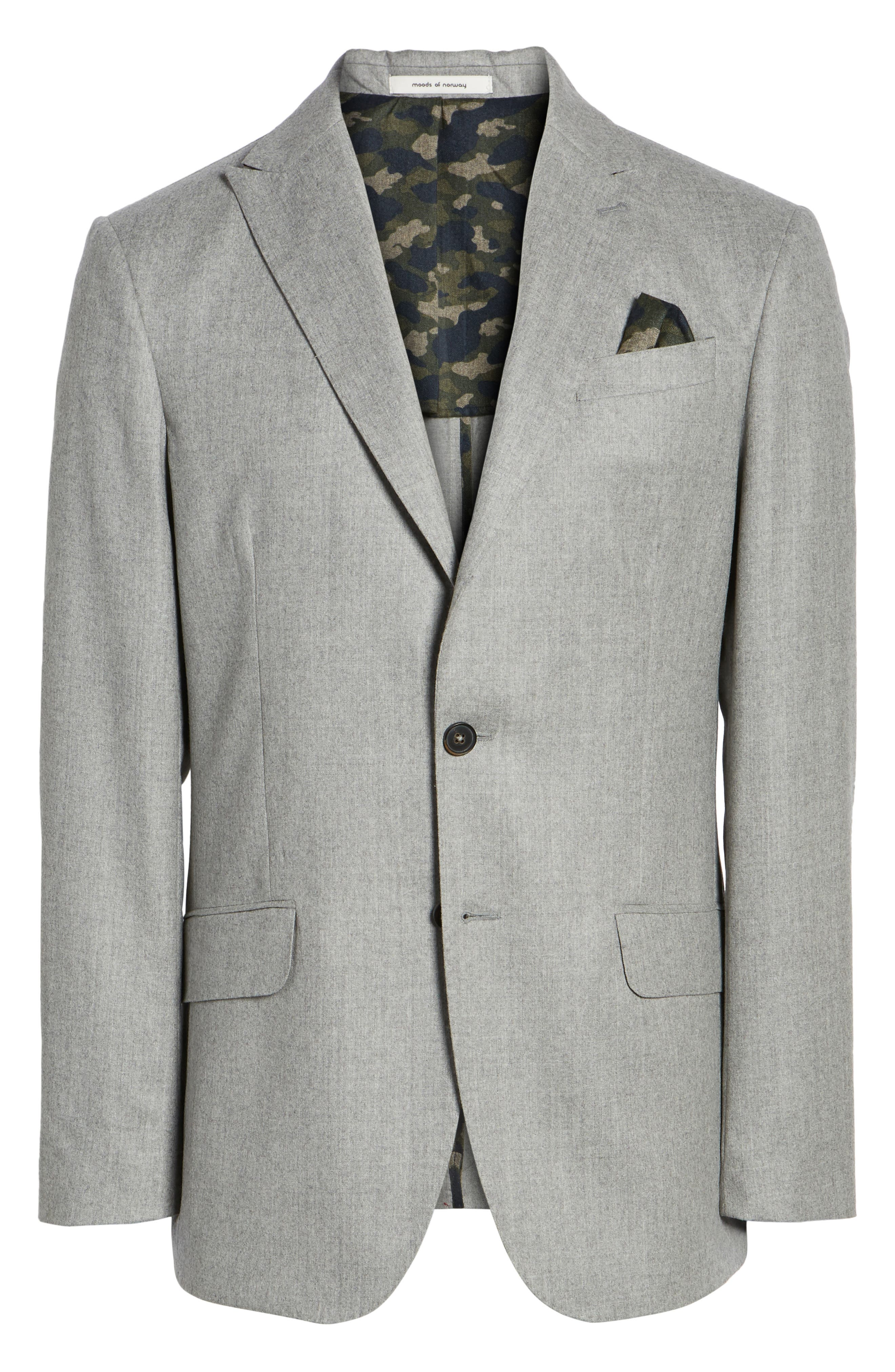 Betong Trim Fit Wool Blazer,                             Alternate thumbnail 6, color,                             Silver Filigree