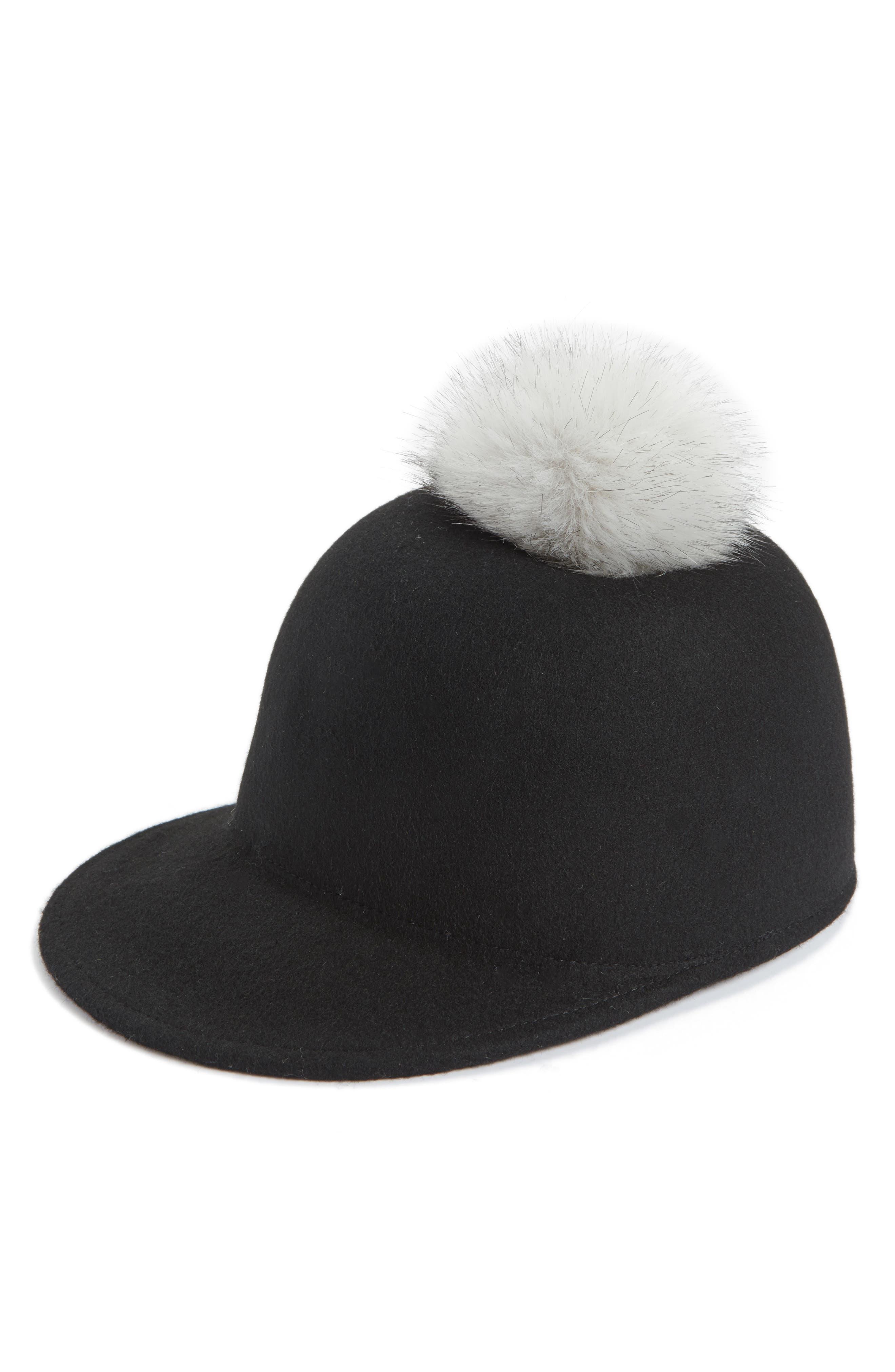Main Image - Halogen® Faux Fur Pom Jockey Cap