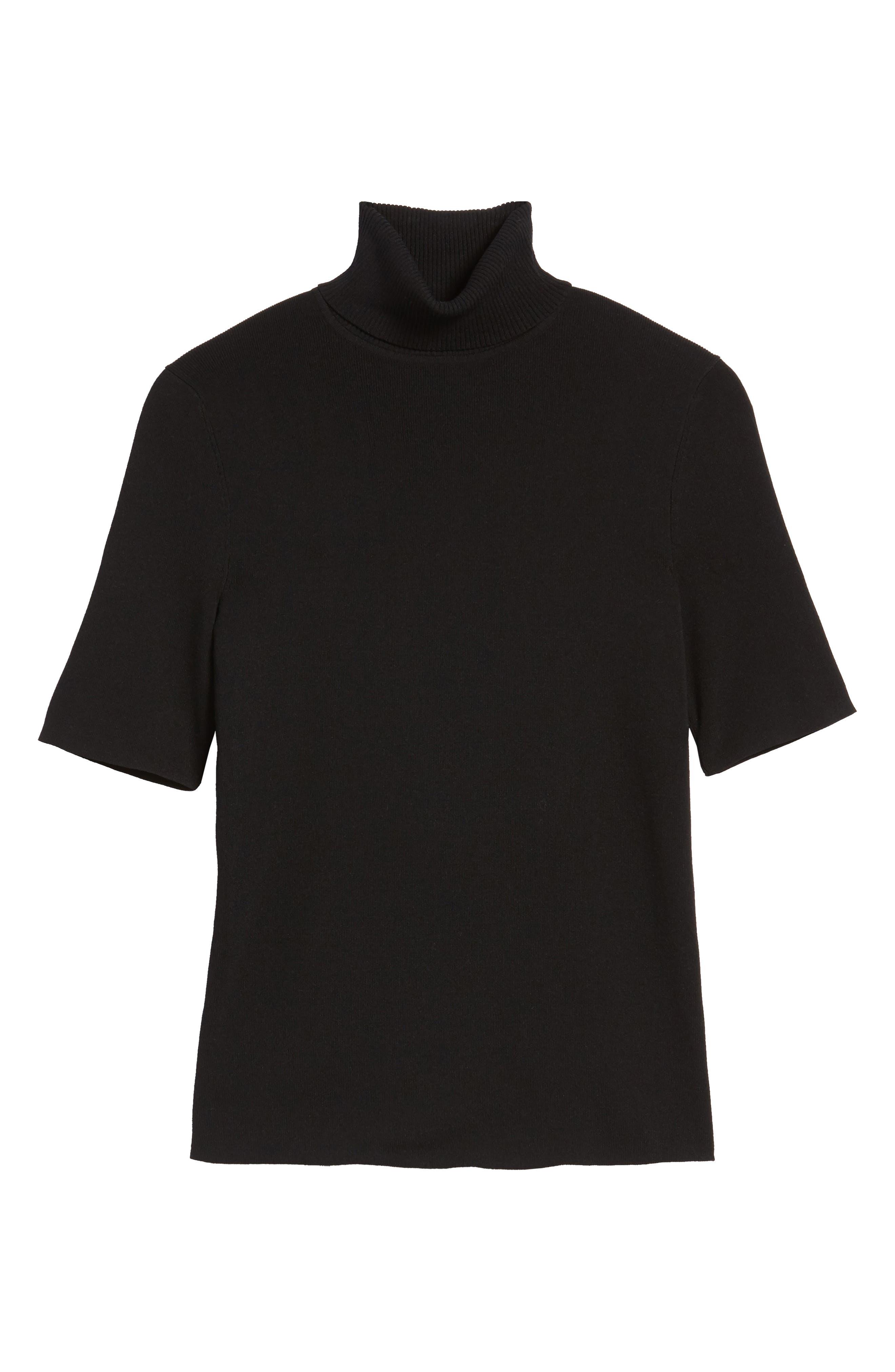 Turtleneck Sweater,                             Alternate thumbnail 6, color,                             Black