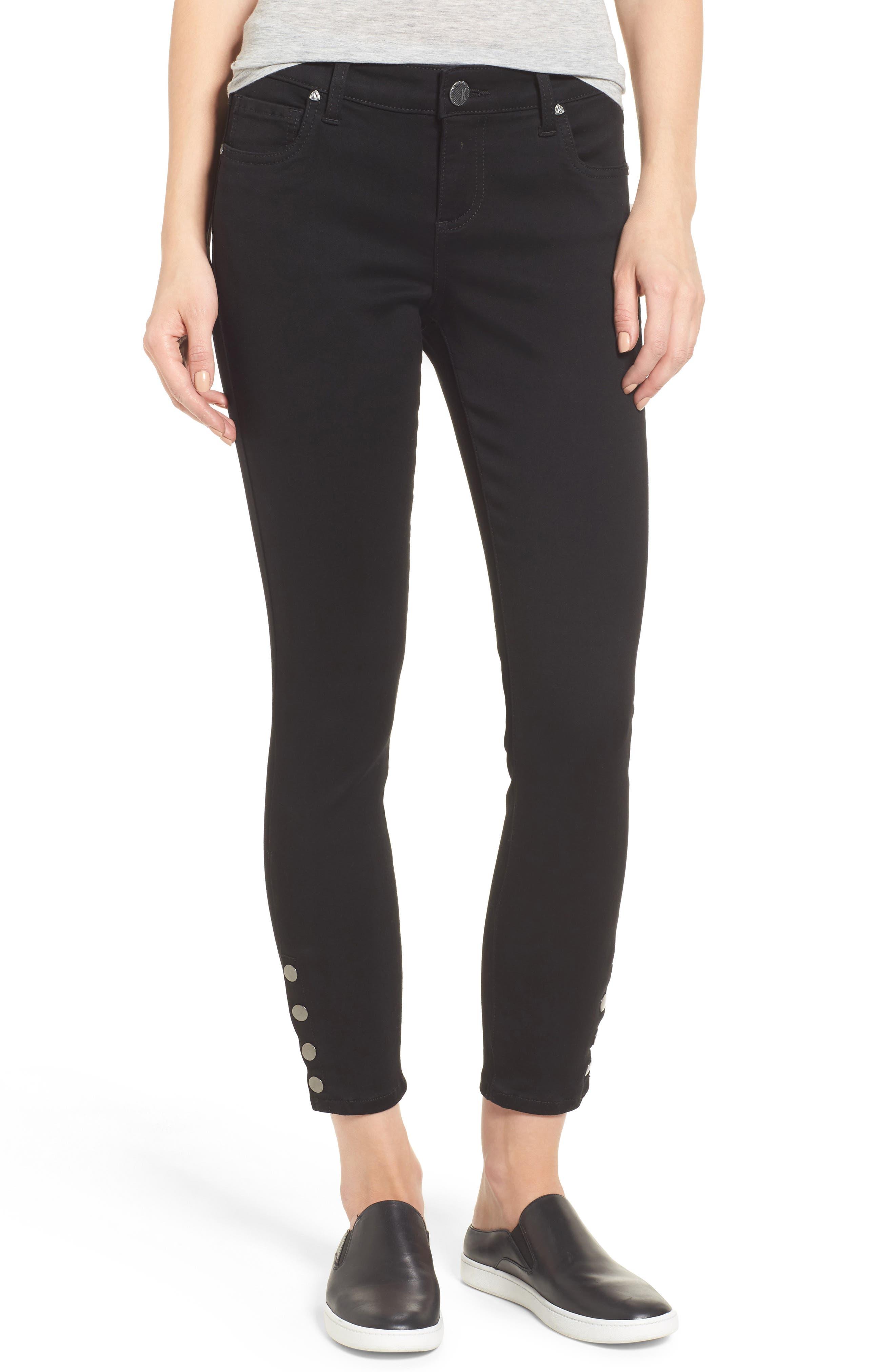 Snap Ankle Jeans,                         Main,                         color, Black
