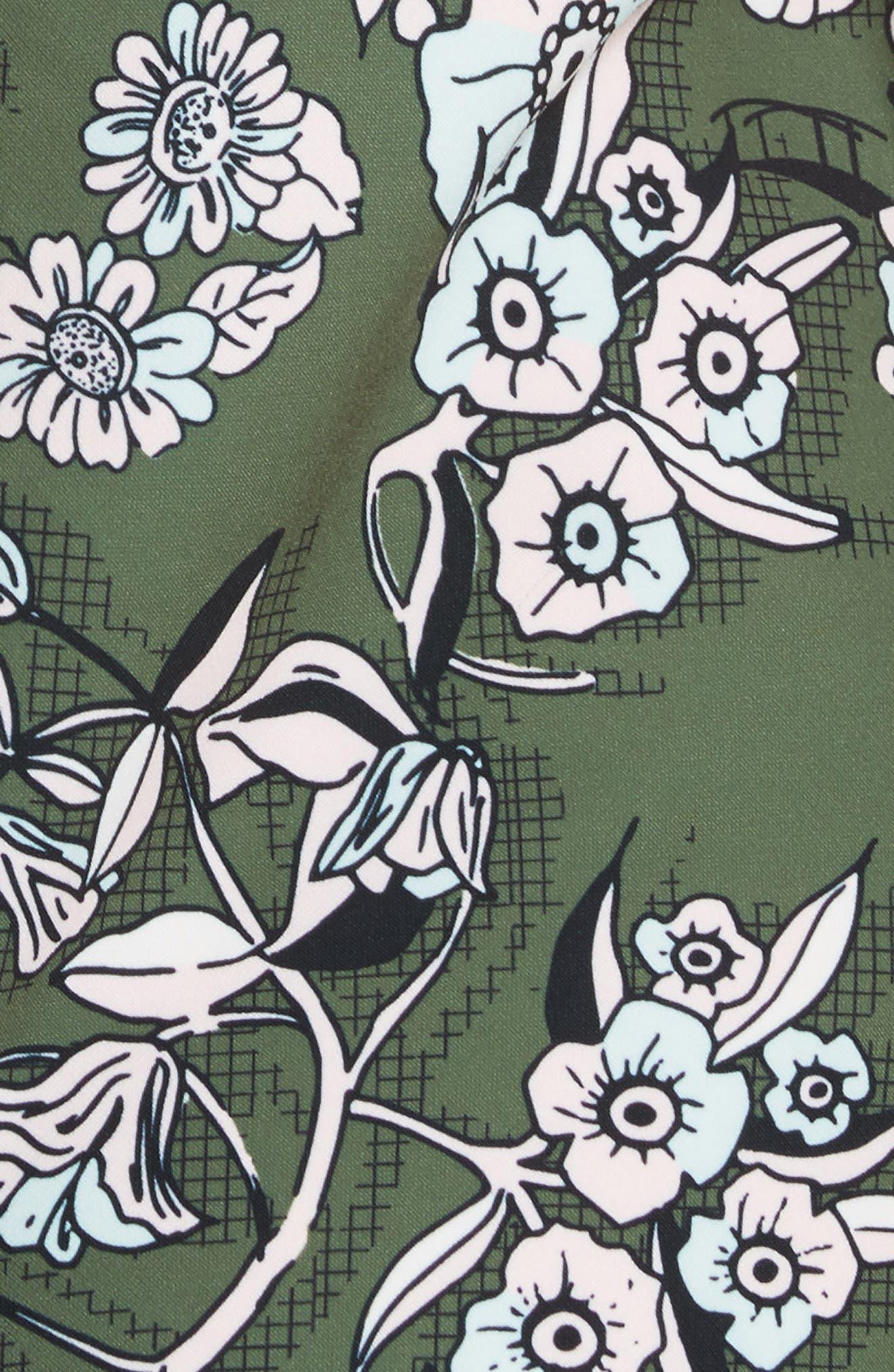 Hoster Floral Print Ruffle Hem Dress,                             Alternate thumbnail 5, color,                             Green
