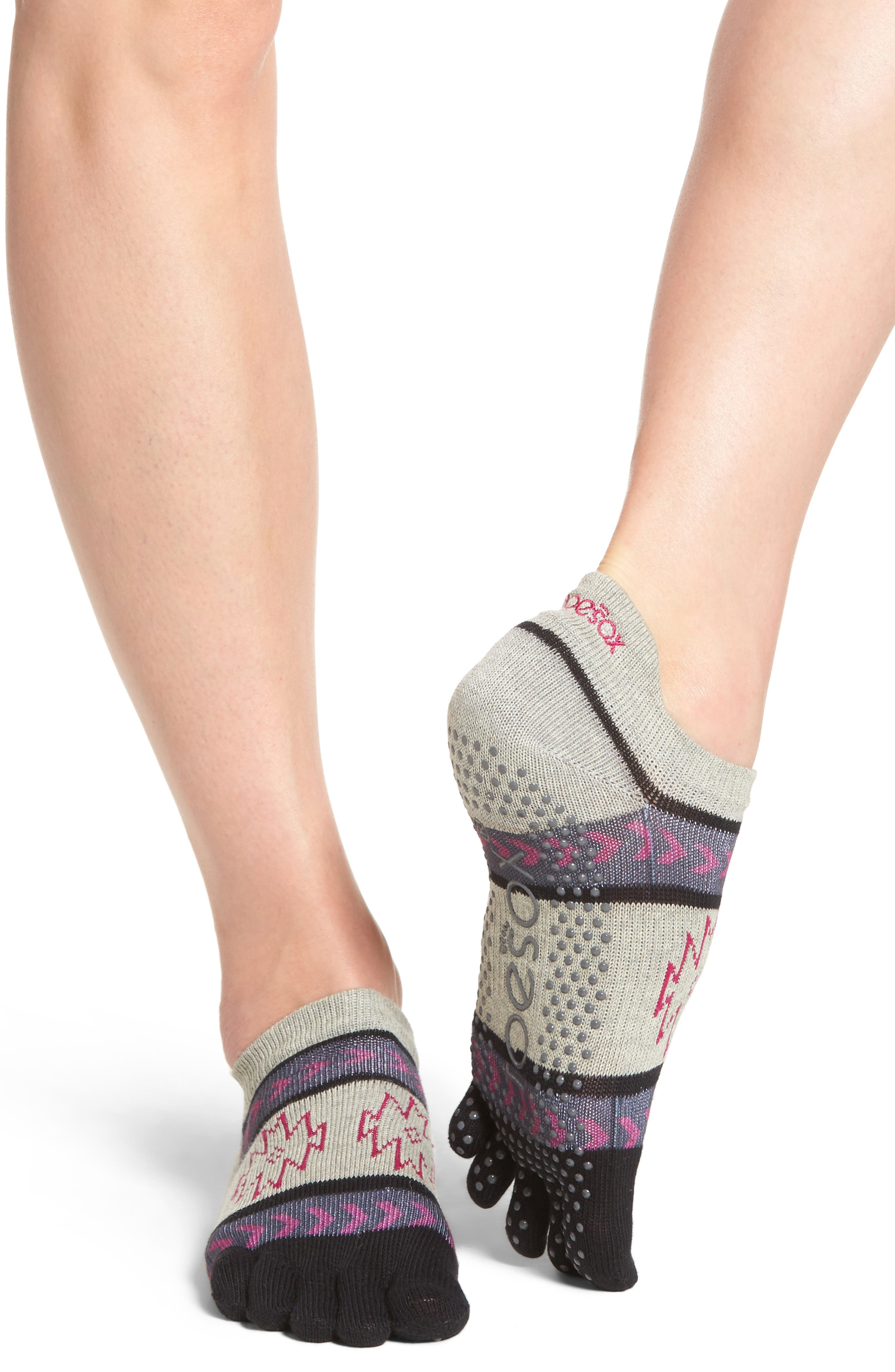 Full Toe Grip Socks,                             Alternate thumbnail 2, color,                             Moon Shadow
