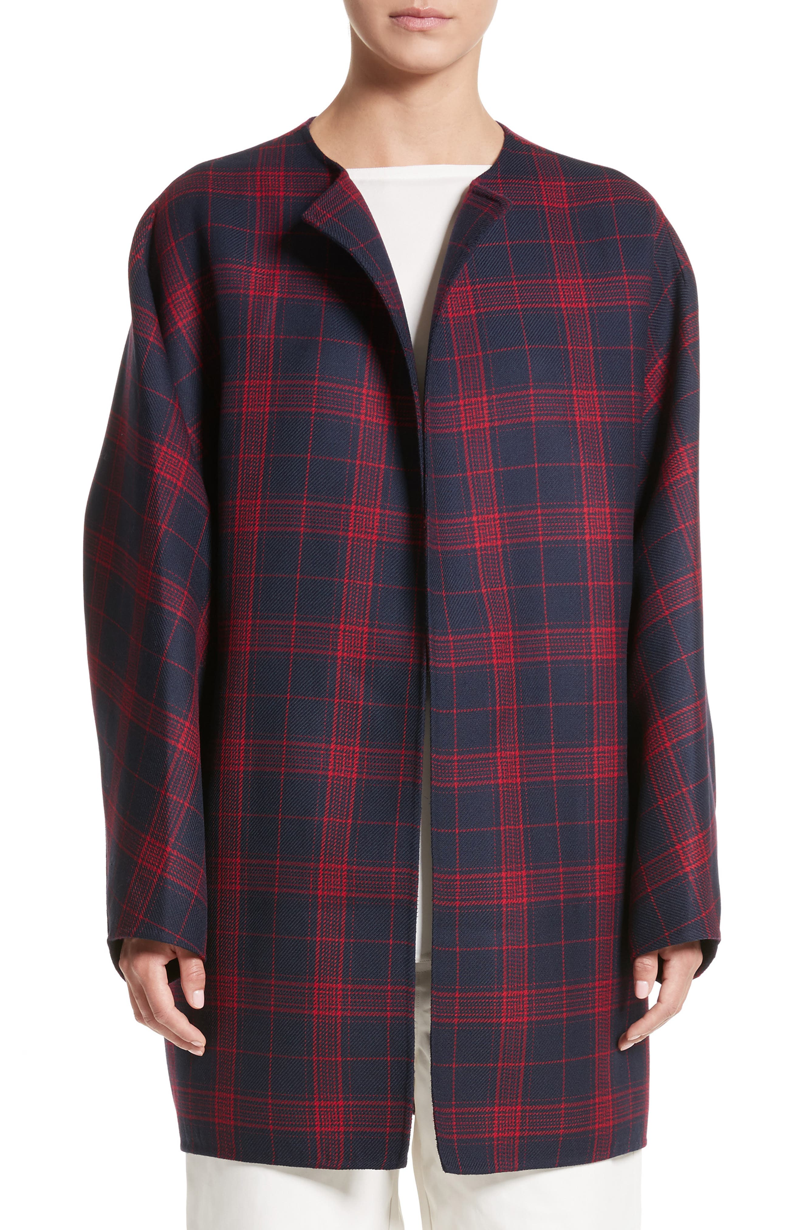 Batwing Sleeve Wool Bubble Coat,                         Main,                         color, Red Navy