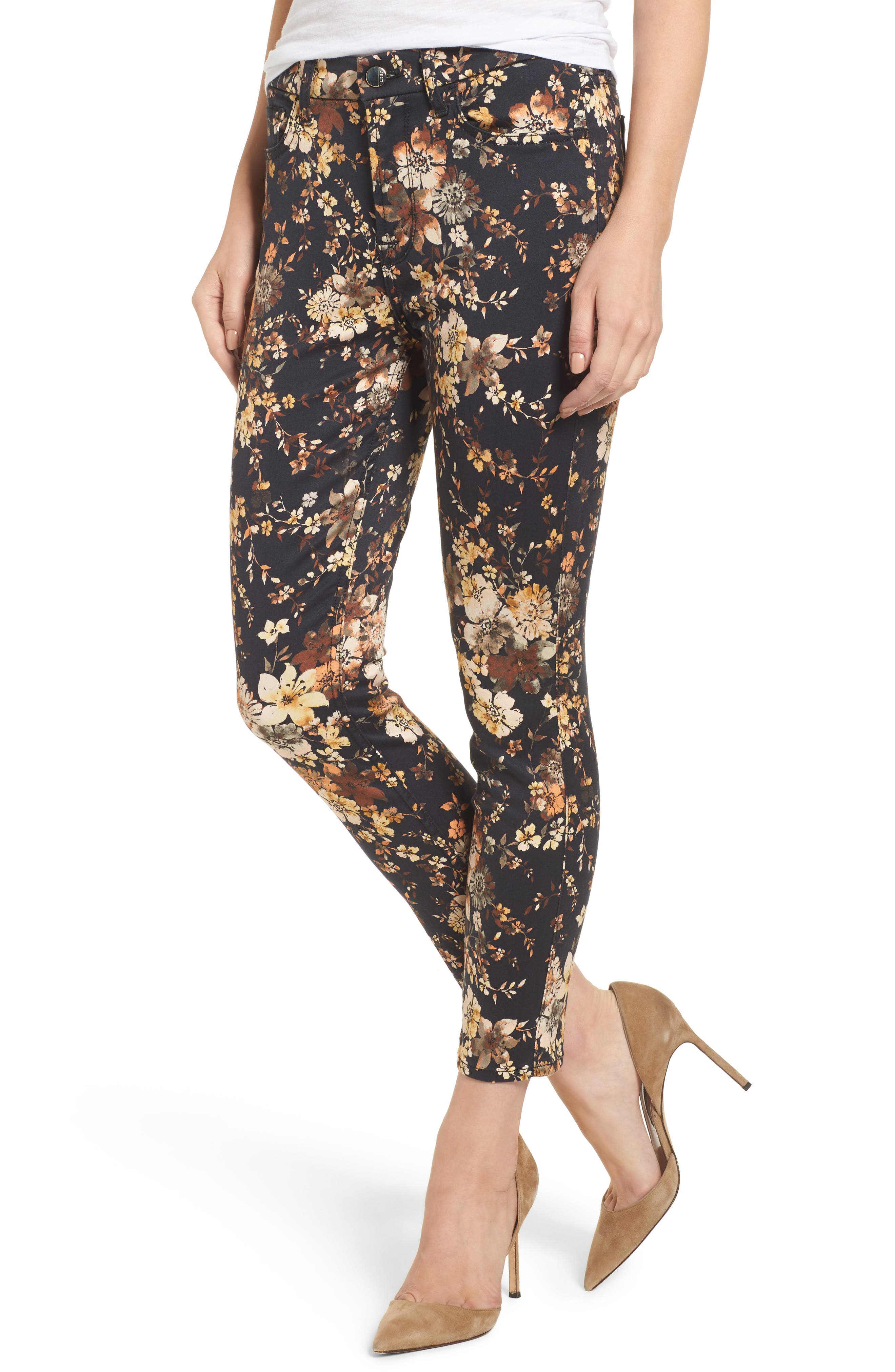Main Image - Jen7 Dark Floral Ankle Skinny Jeans (Autumn Dusk)