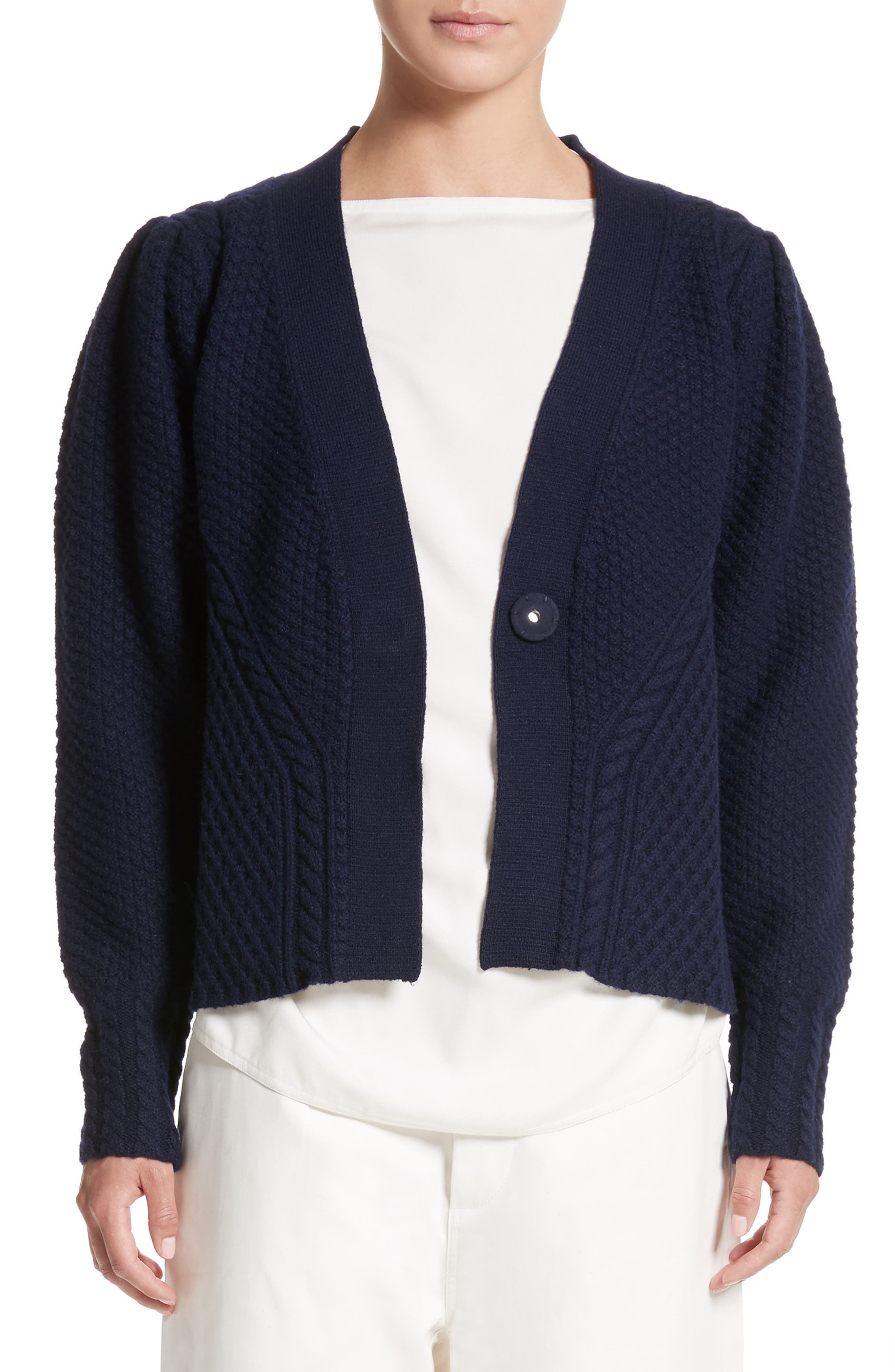 SOFIE DHOORE Mixed Stitch Wool Button Cardigan
