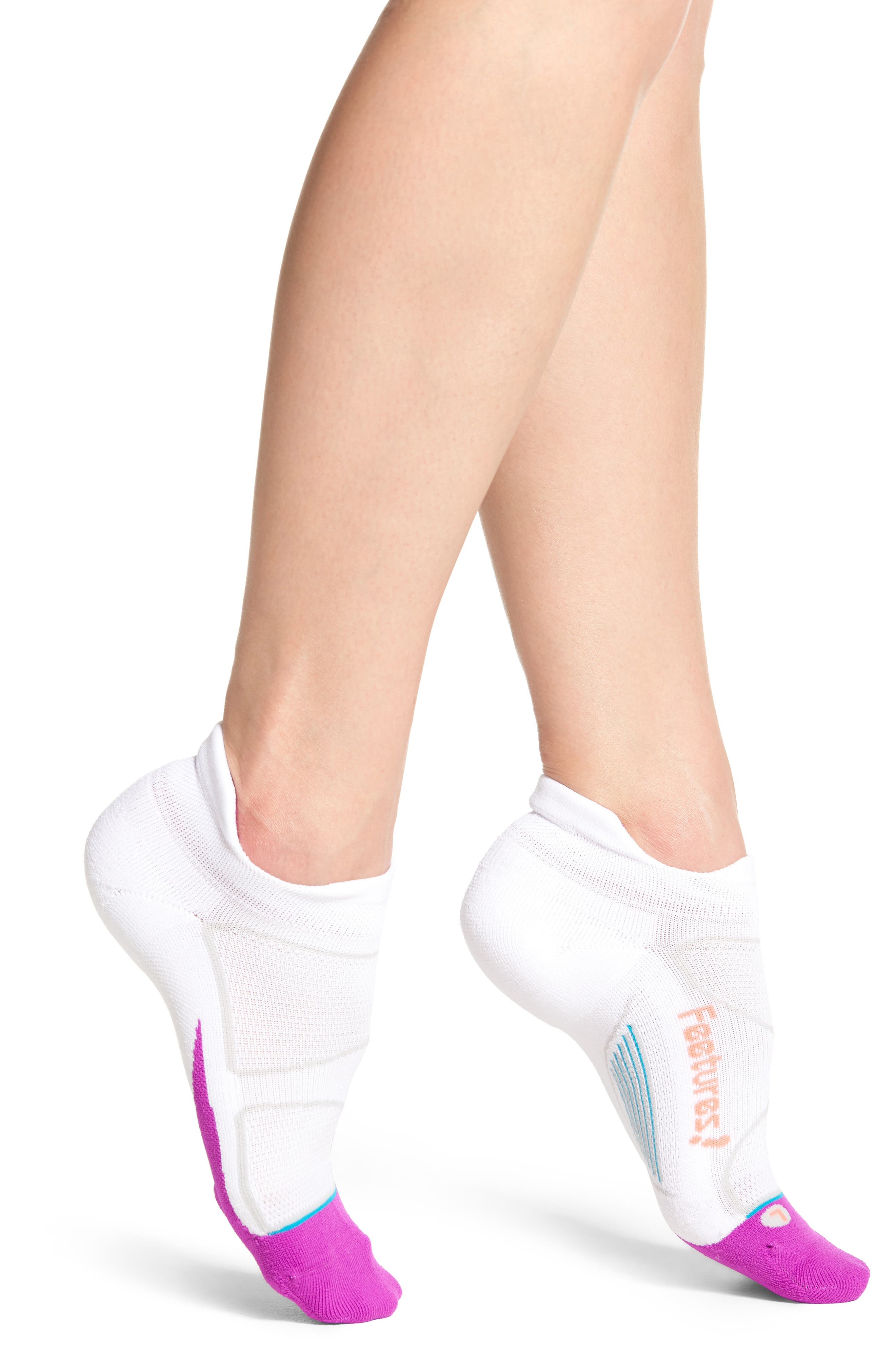 Elite Light No-Show Running Socks,                             Main thumbnail 1, color,                             White