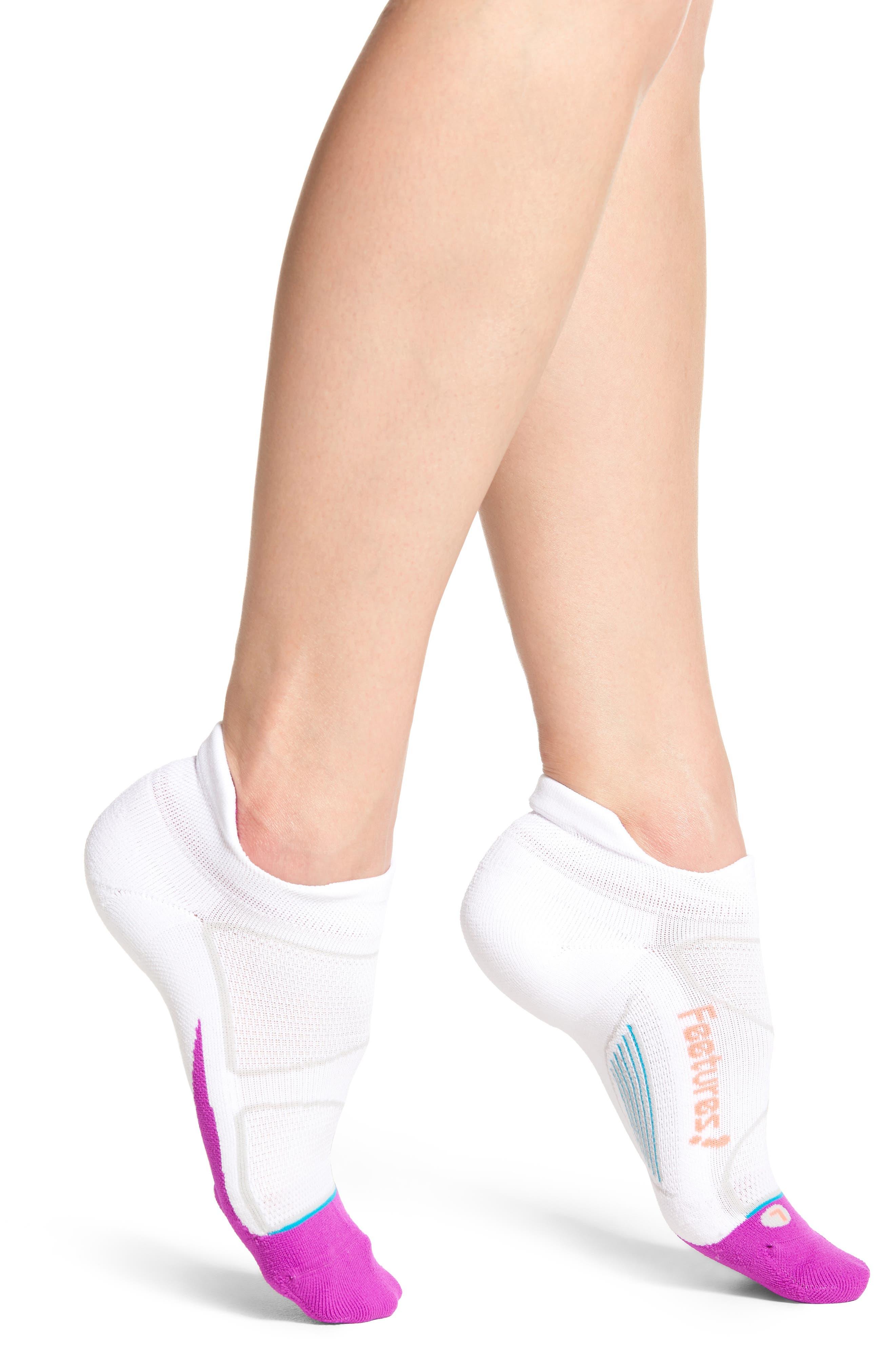 Elite Light No-Show Running Socks,                         Main,                         color, White