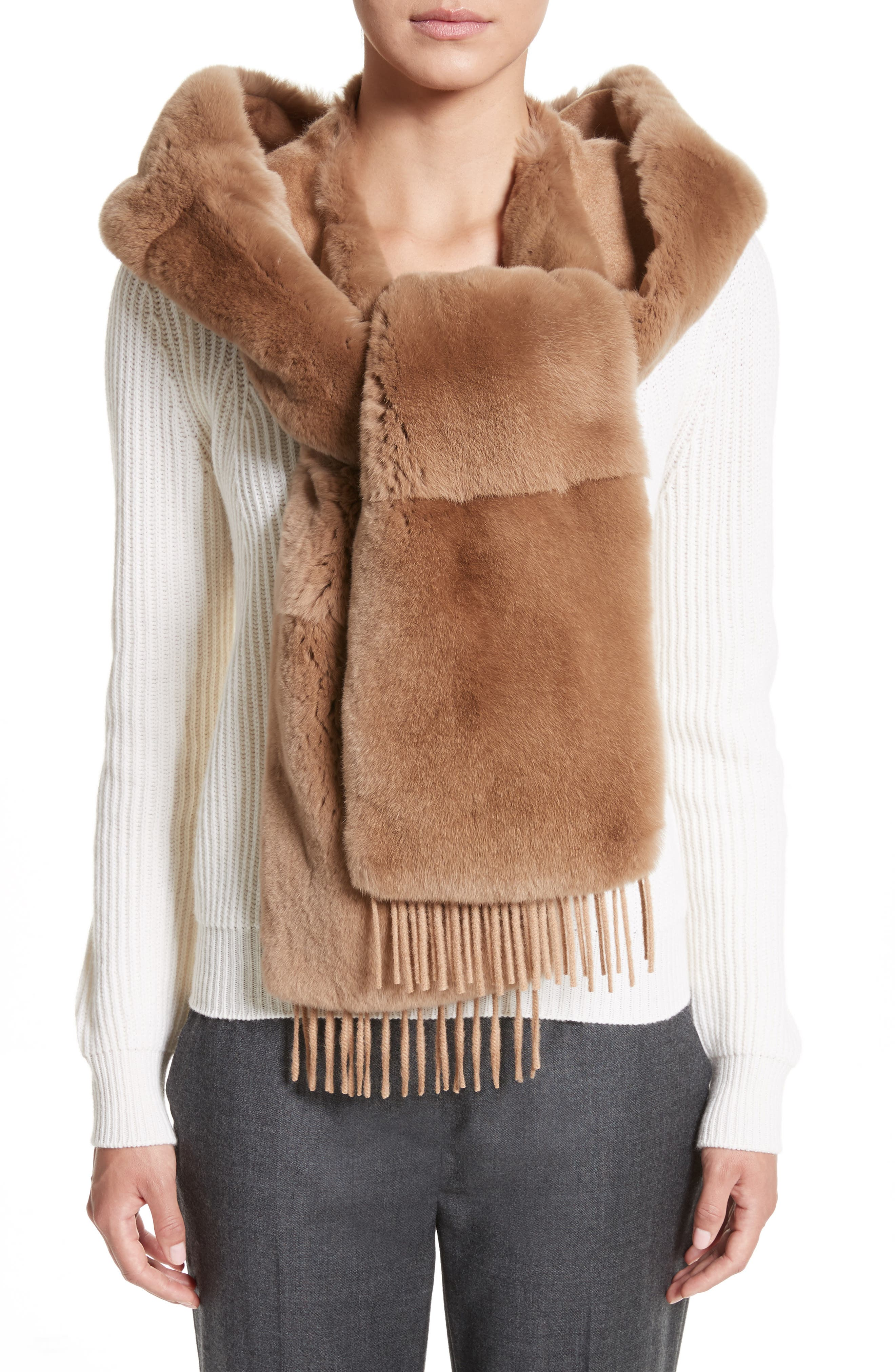 MAX MARA Genuine Rabbit Fur Scarf