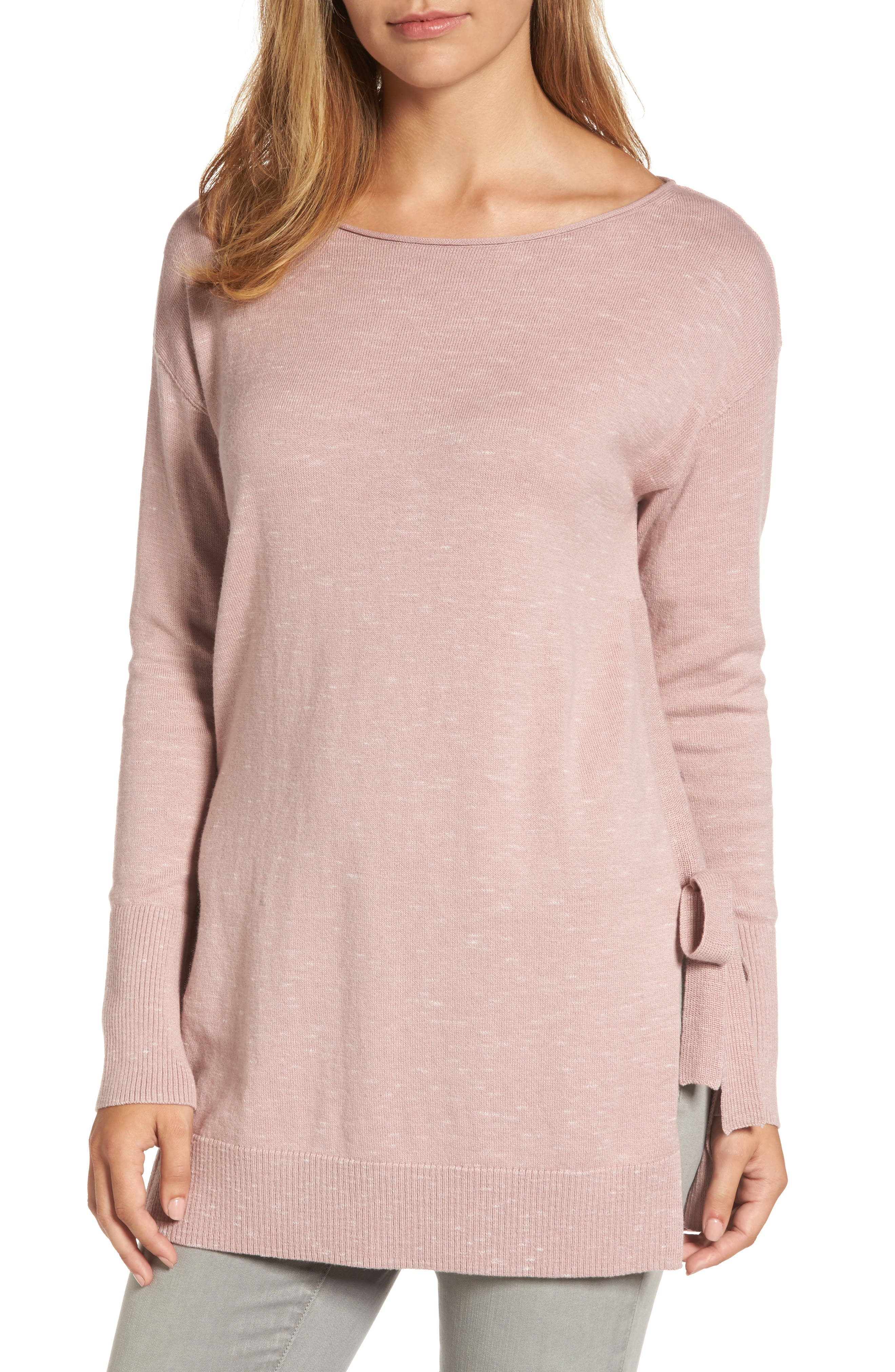 Side Tie Tunic Top,                         Main,                         color, Pink- Ivory Pattern