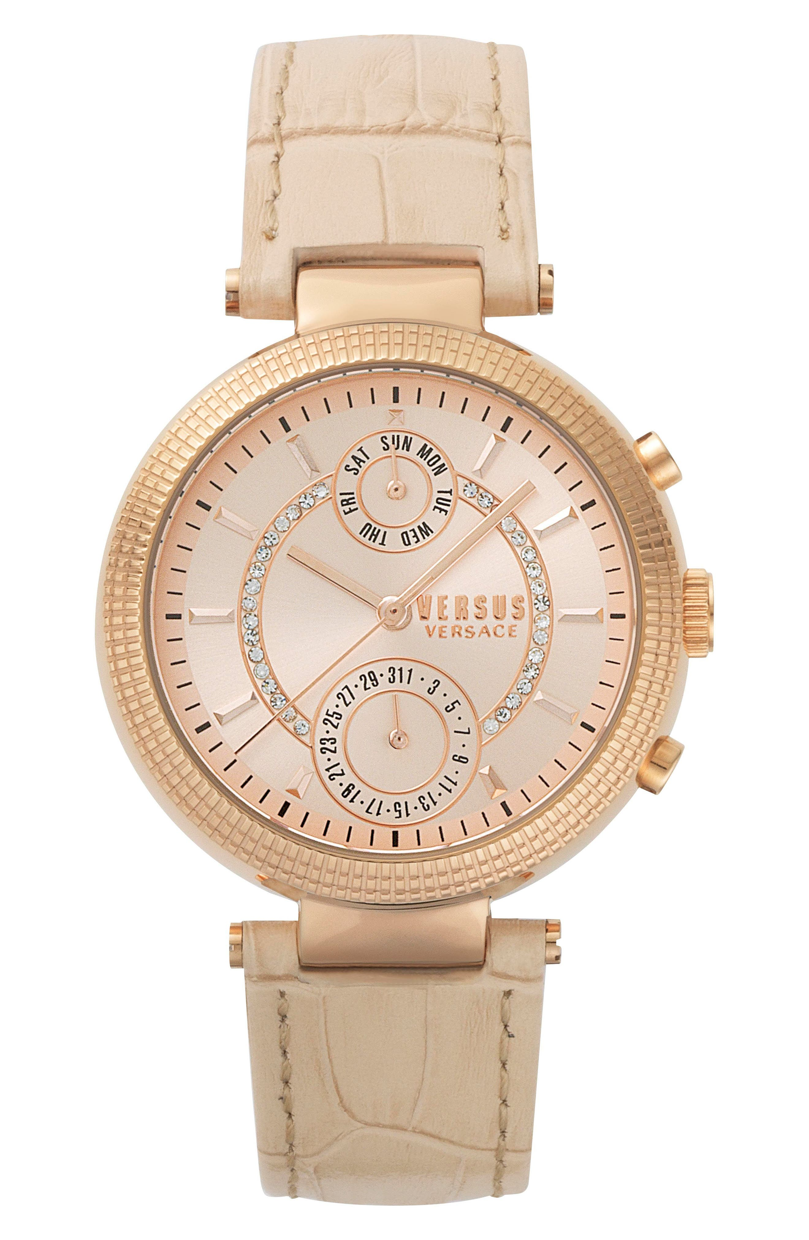 Versus by Versace Star Ferry Chronograph Bracelet Watch, 38mm,                         Main,                         color, Beige/ Rose Gold