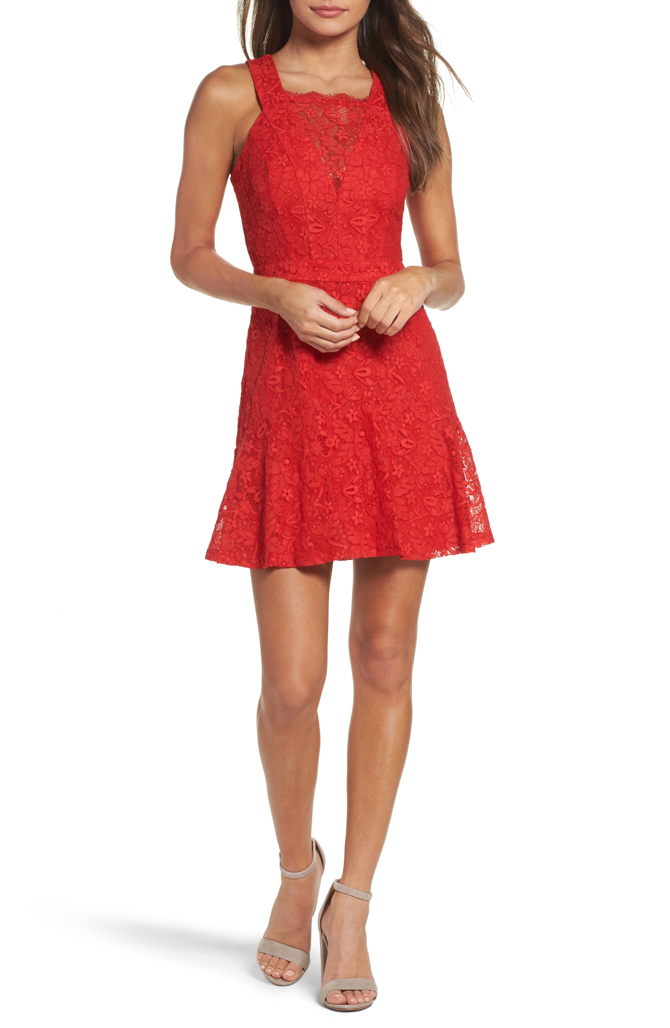 Lace Fit & Flare Dress,                             Main thumbnail 1, color,                             Red