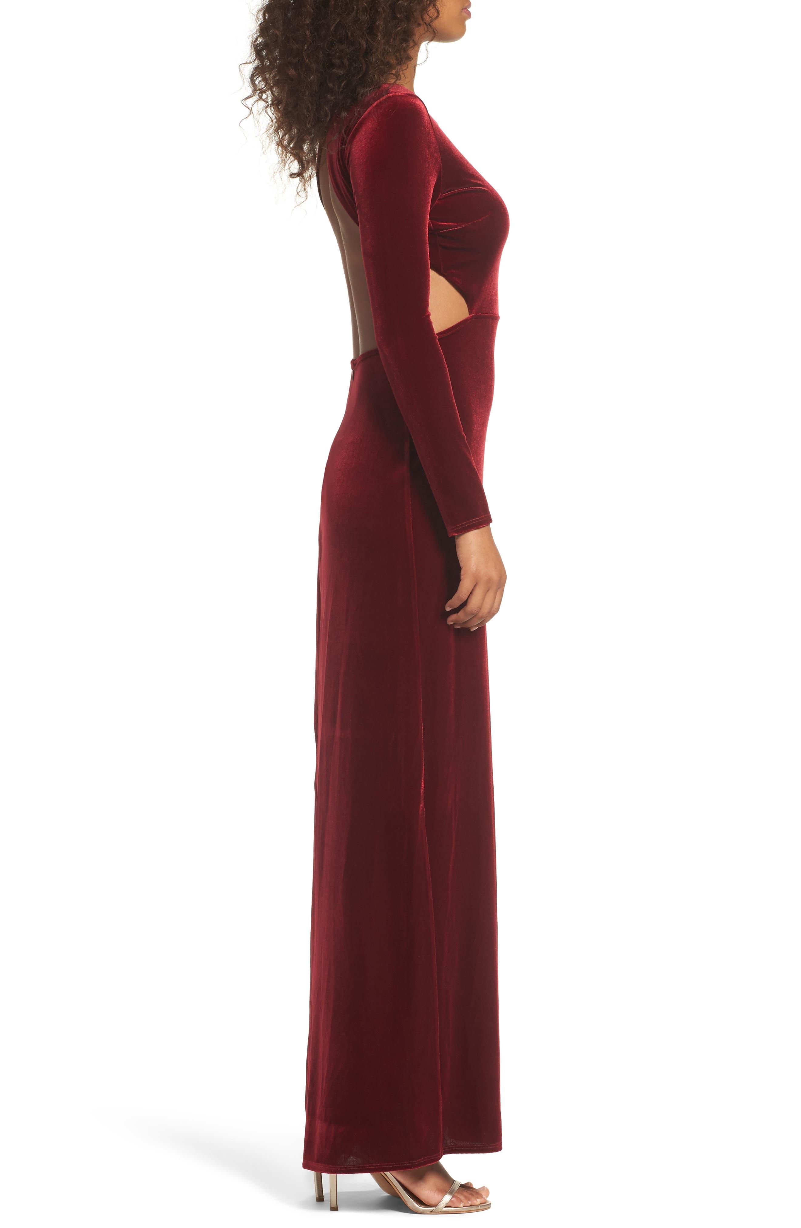Besame Long Sleeve Velvet Maxi Dress,                             Alternate thumbnail 3, color,                             Burgundy